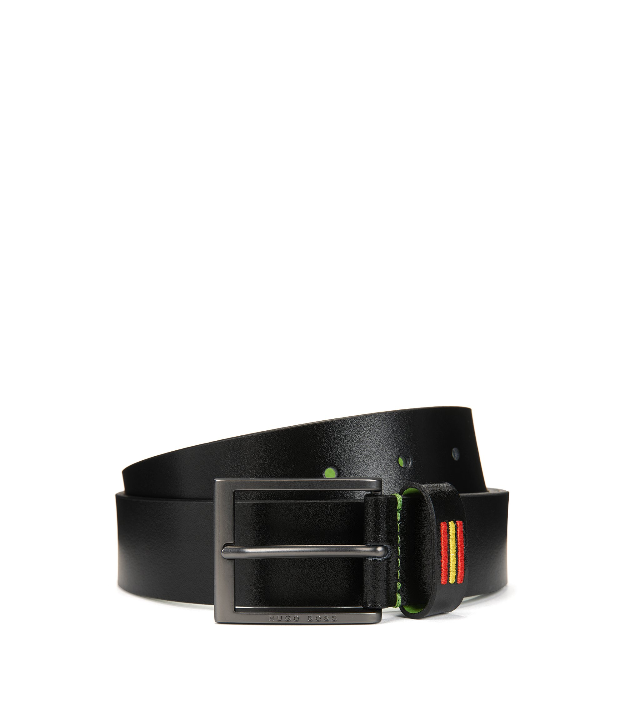 Smooth leather belt with national flag stitching, Black