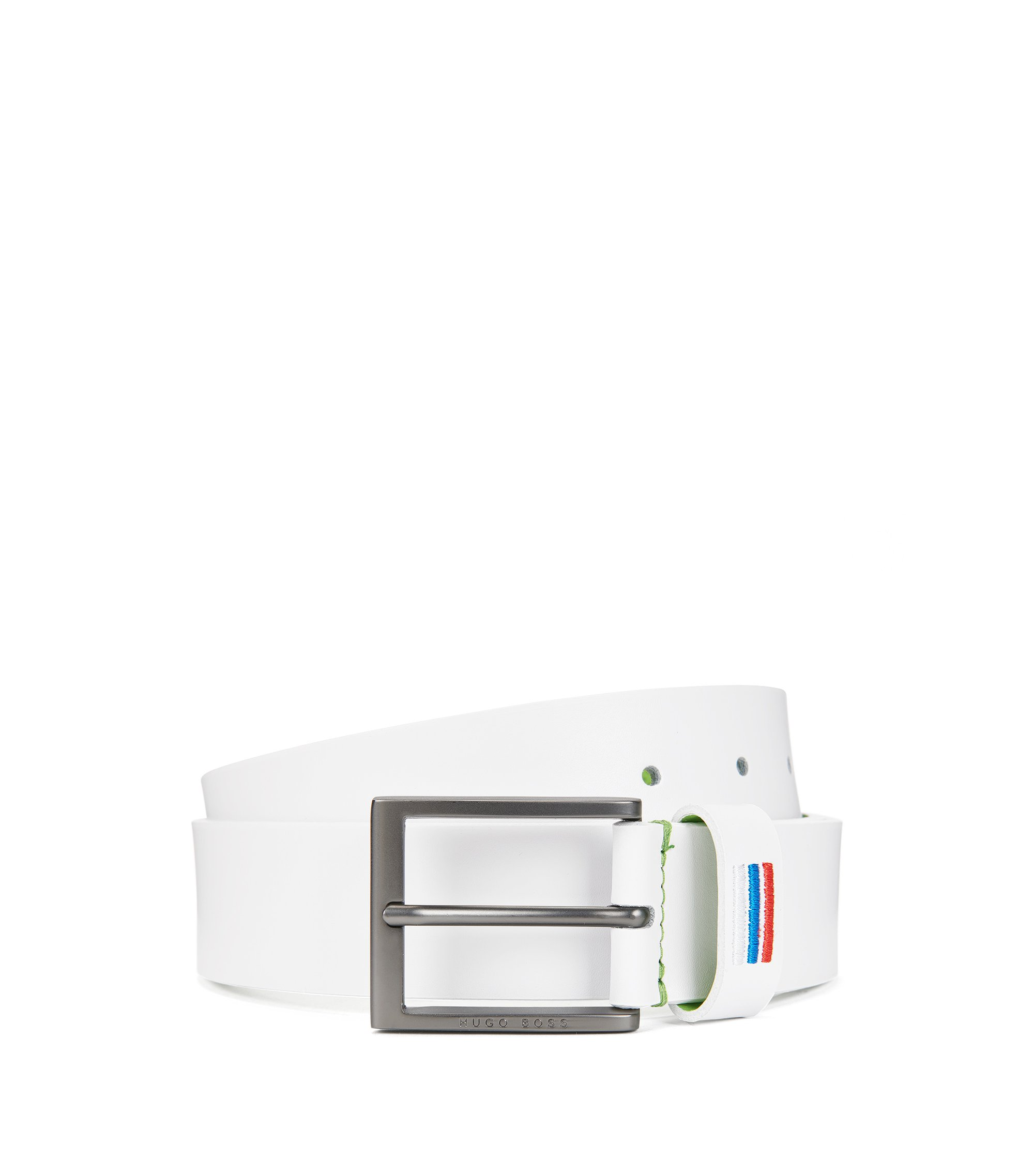 World Cup 2018 belt in smooth leather, White