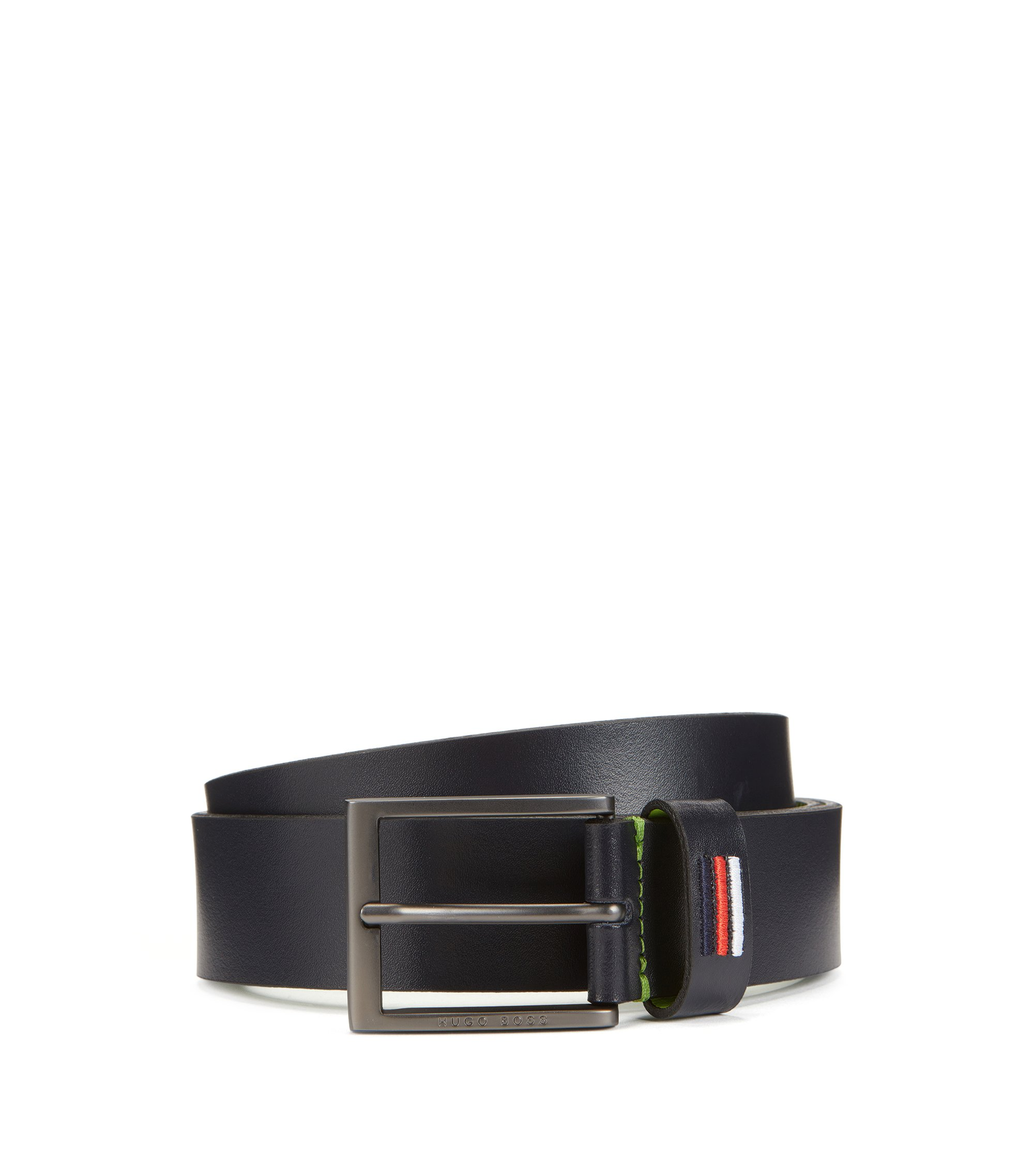 Smooth leather belt with national flag stitching, Dark Blue
