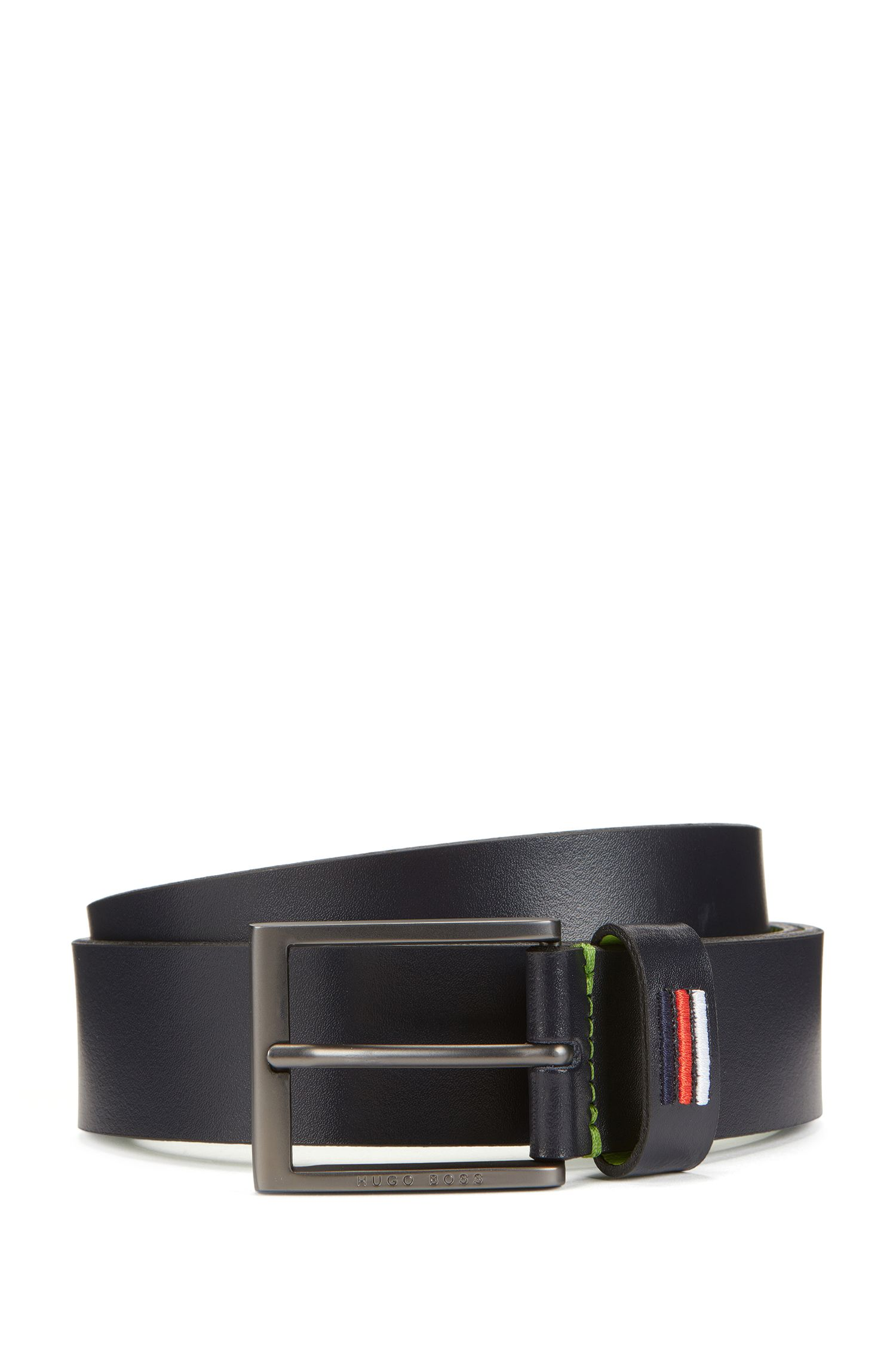 Smooth leather belt with national flag stitching