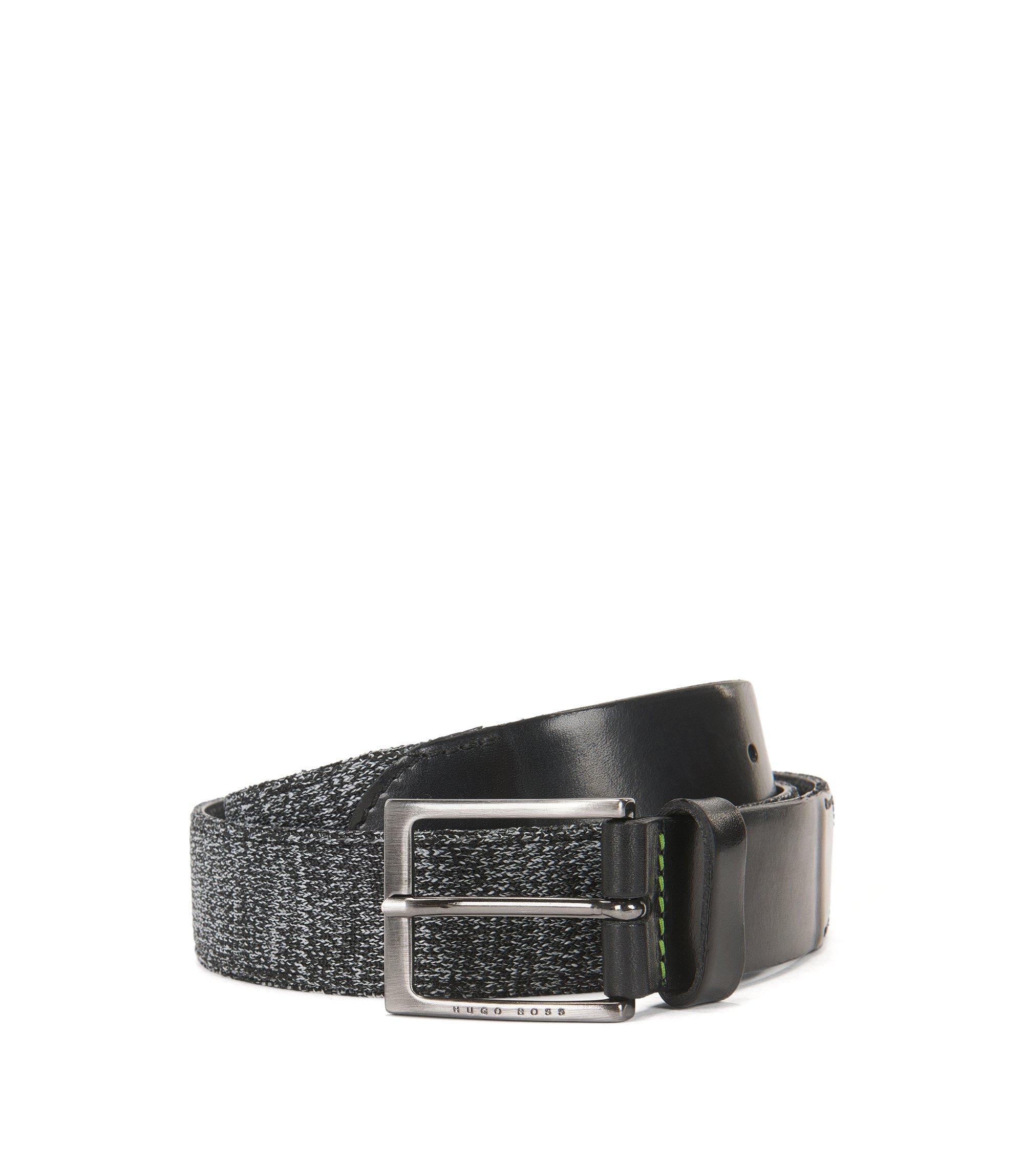 Cinturón de tela y piel, Negro