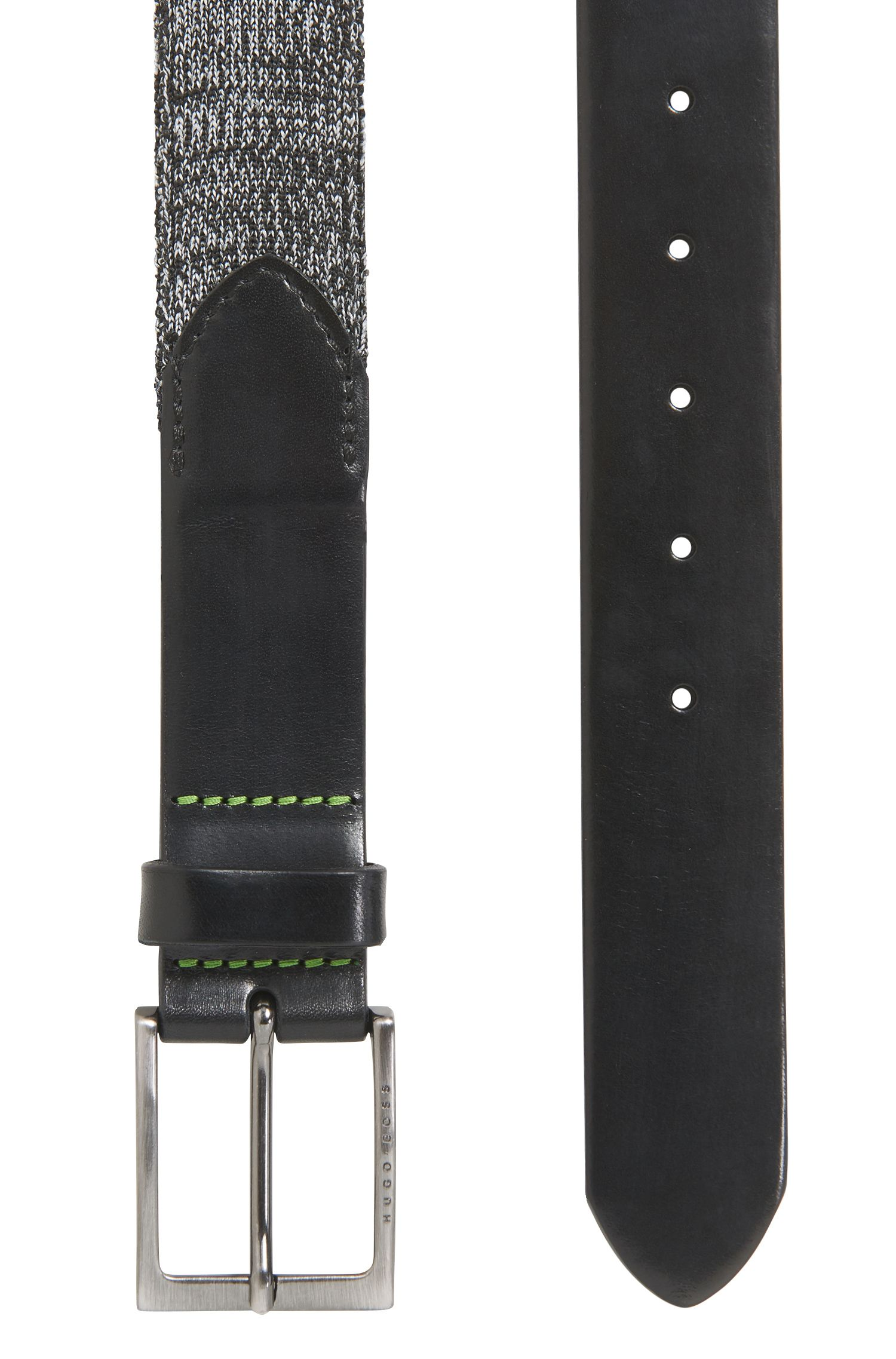 Belt in leather and woven fabric