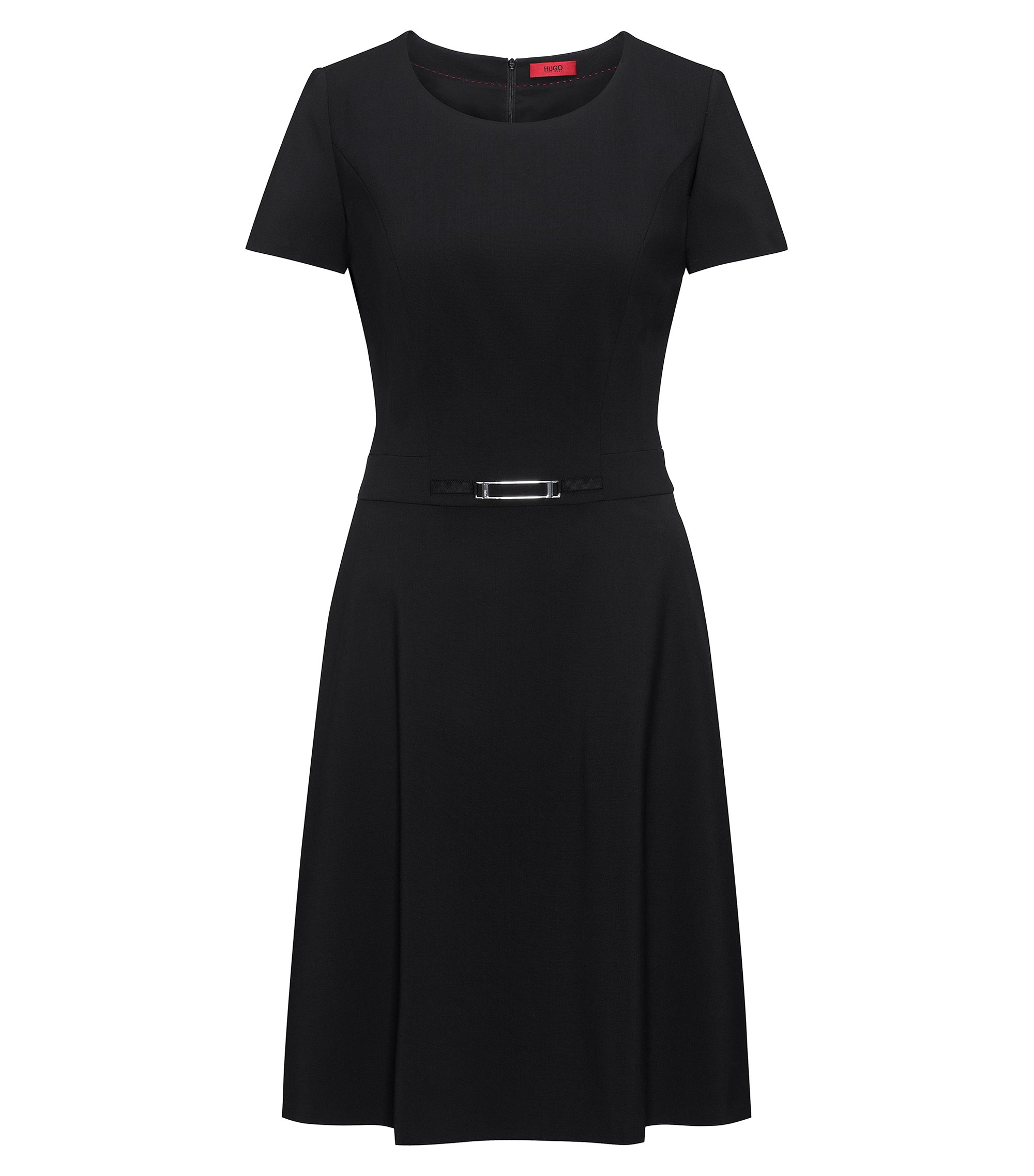 Short-sleeved A-line dress in stretch wool, Black
