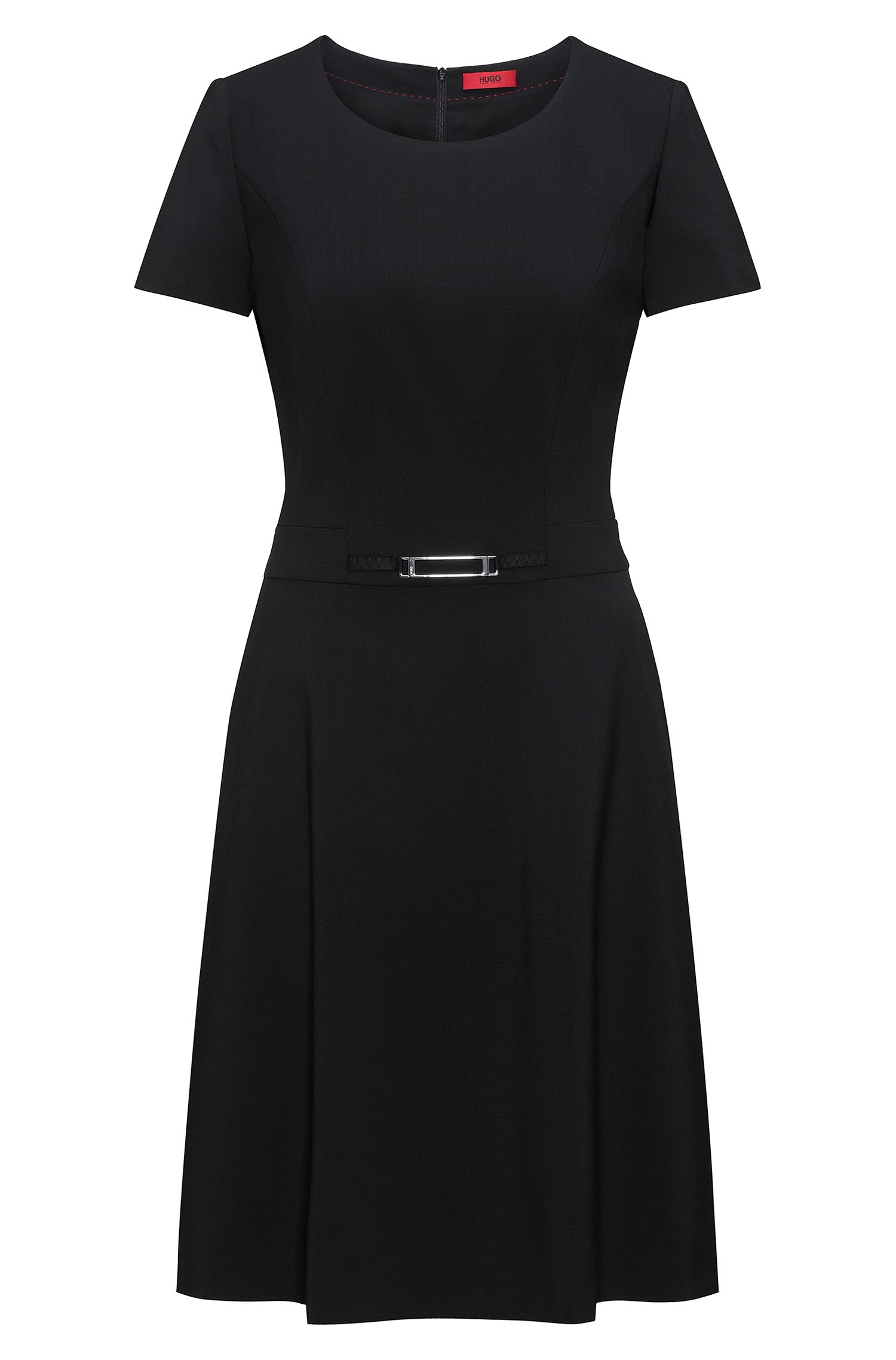 Short-sleeved A-line dress in stretch wool