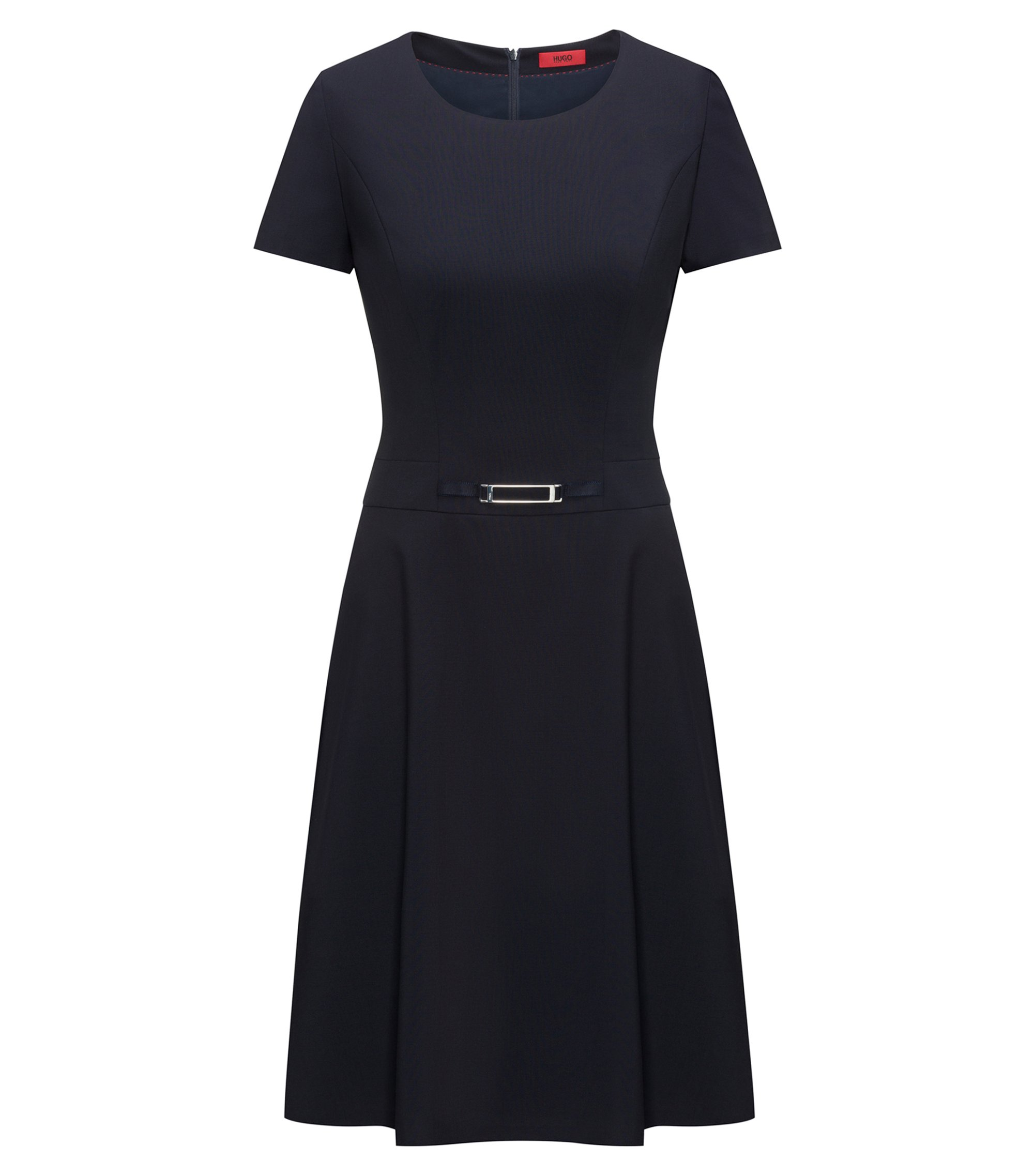 Short-sleeved A-line dress in stretch wool, Dark Blue