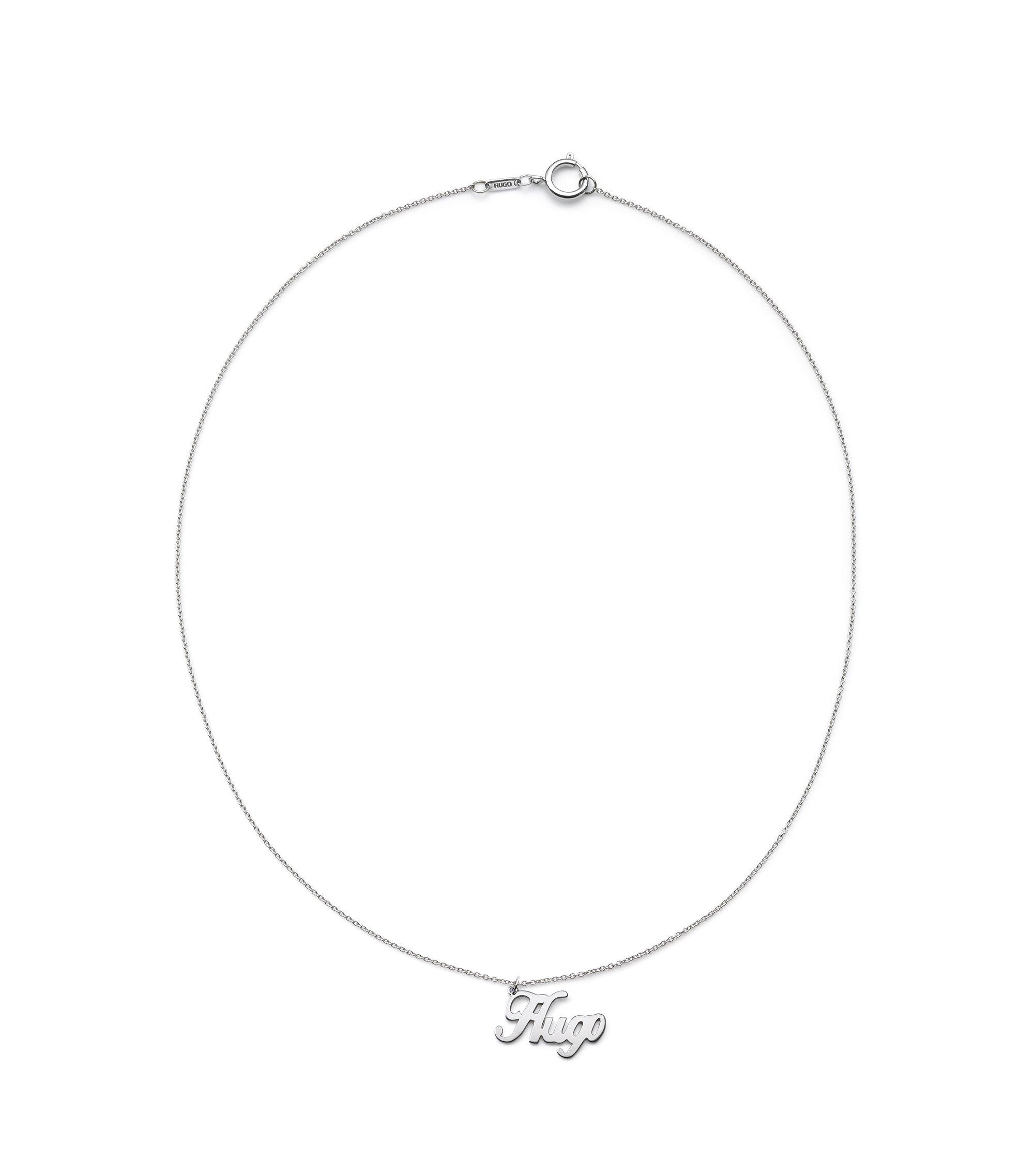 Halskette aus glänzend poliertem Edelstahl mit Logo-Anhänger, Silber