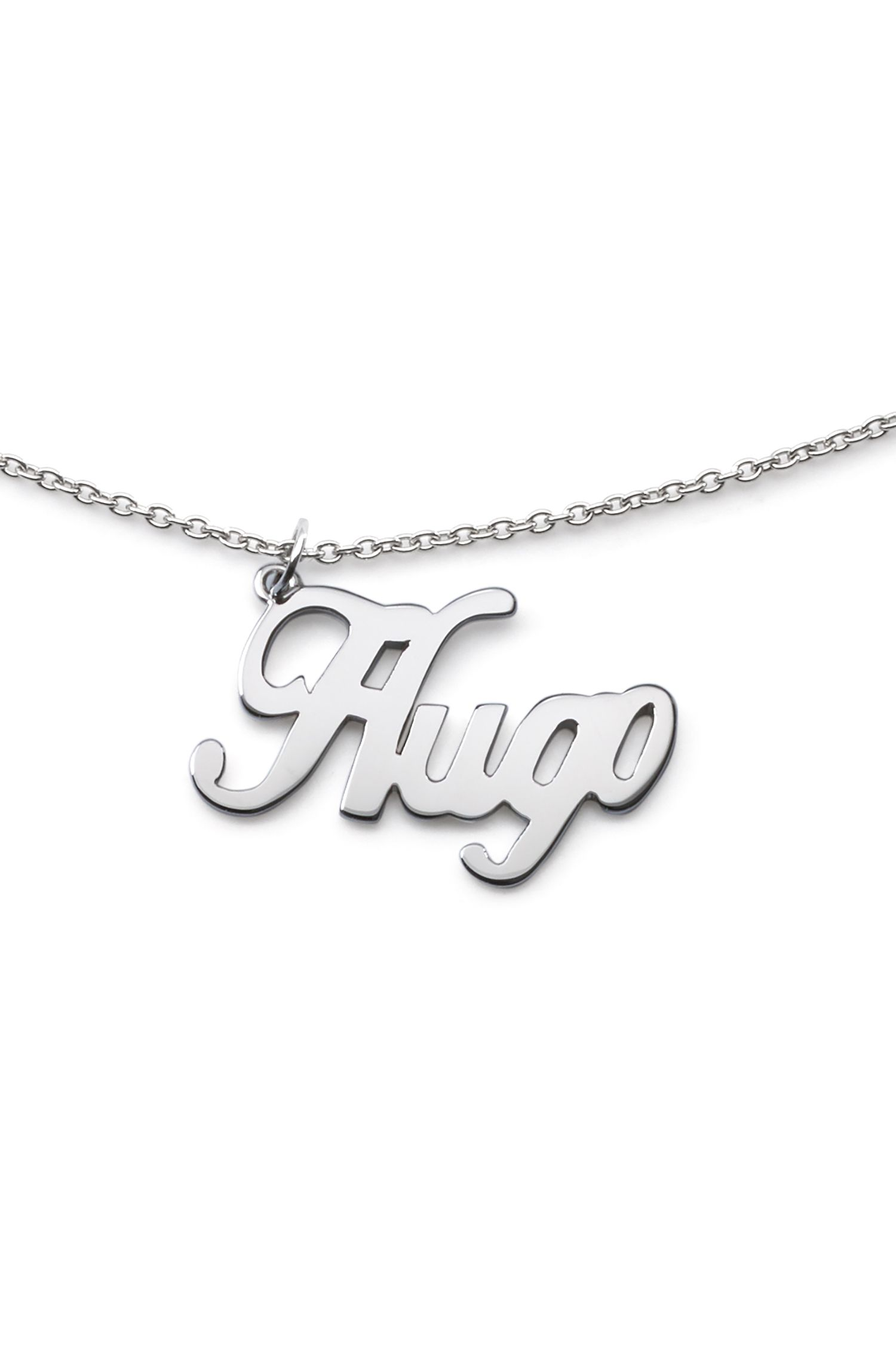 Polished chain necklace with logo pendant, Silver