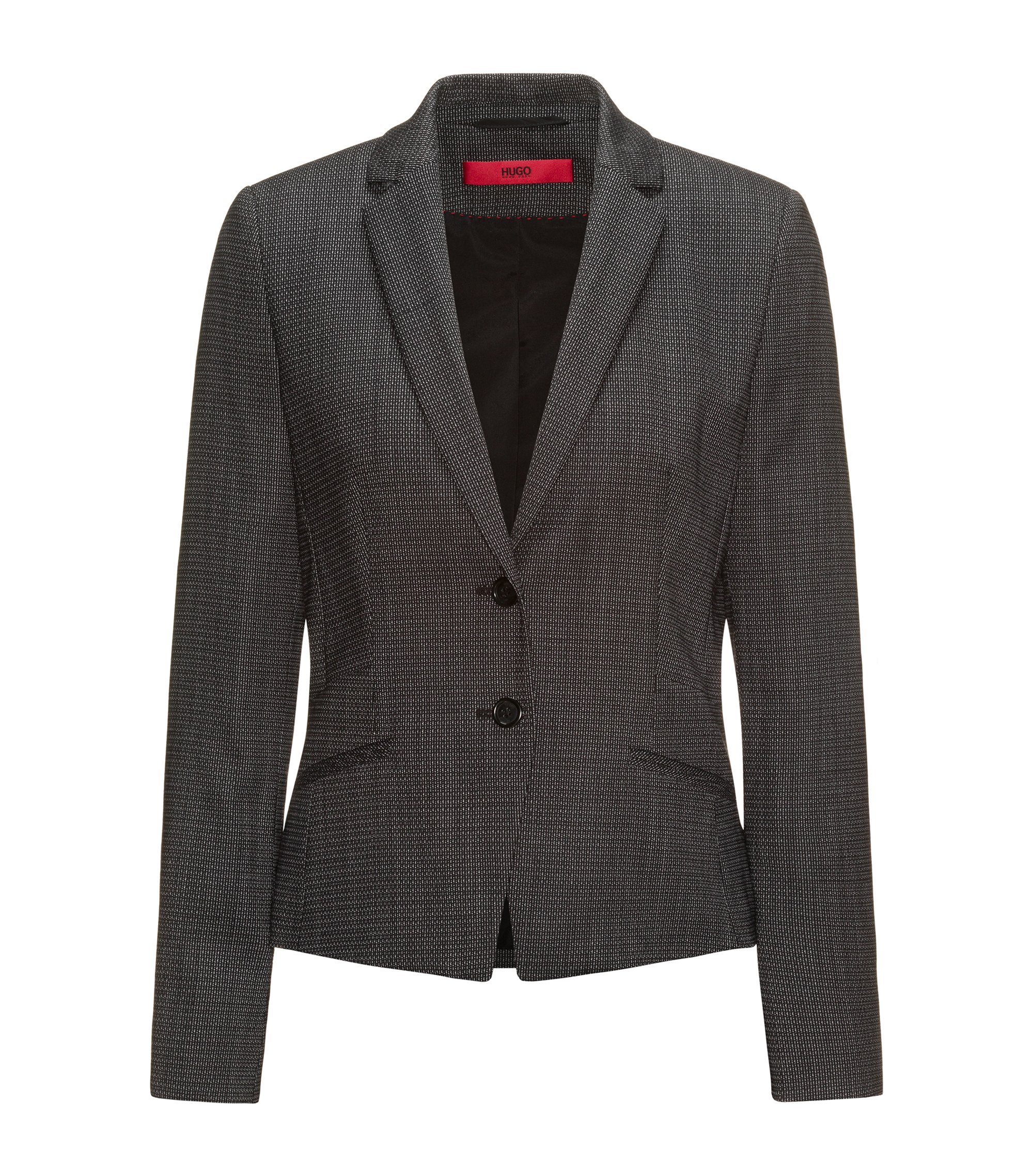 Regular-fit suit jacket in structured stretch wool, Patterned