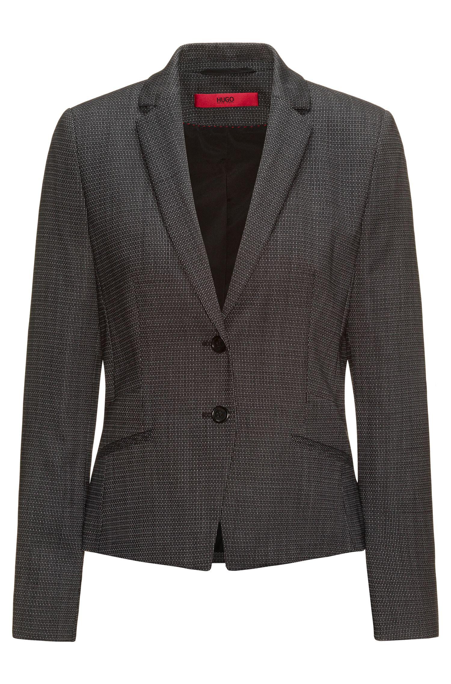 Giacca regular fit in lana elasticizzata lavorata