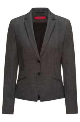 Regular-fit suit jacket in structured stretch wool, Fantaisie
