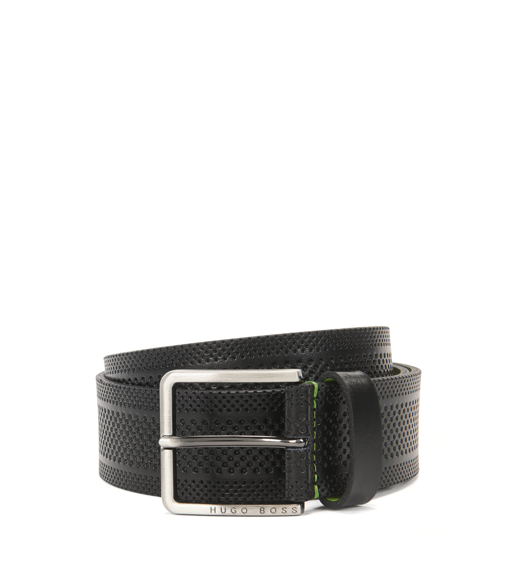 Casual belt in embossed leather, Black