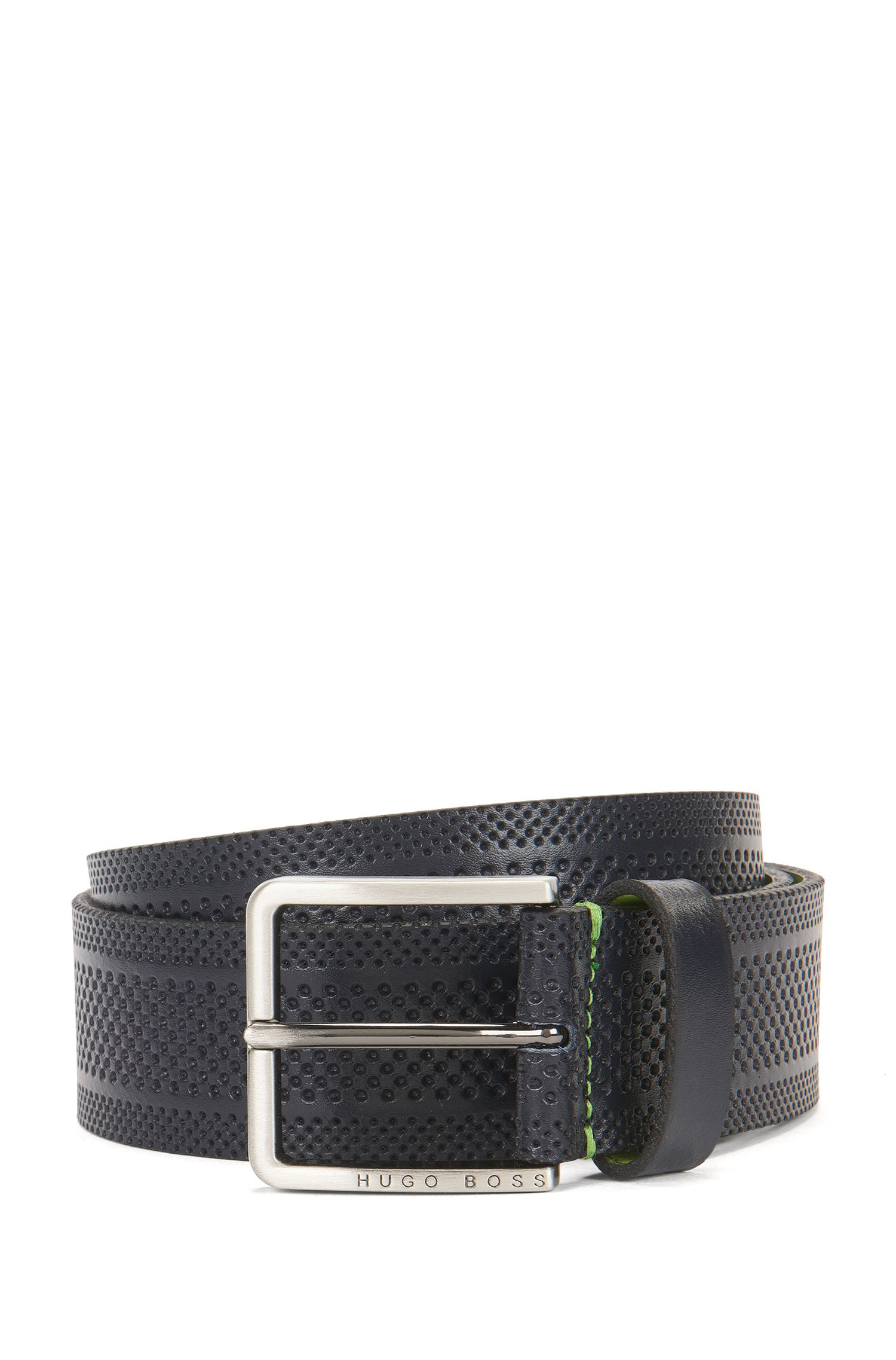 Casual belt in embossed leather