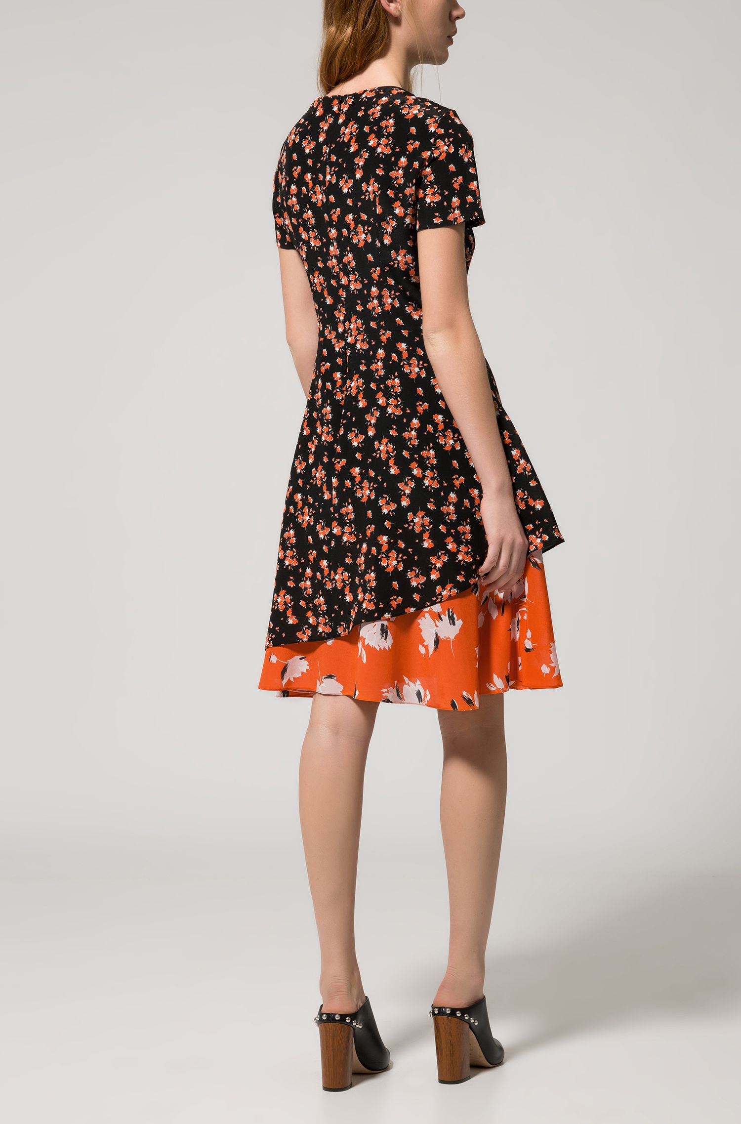 Short-sleeved silk dress with patched floral prints