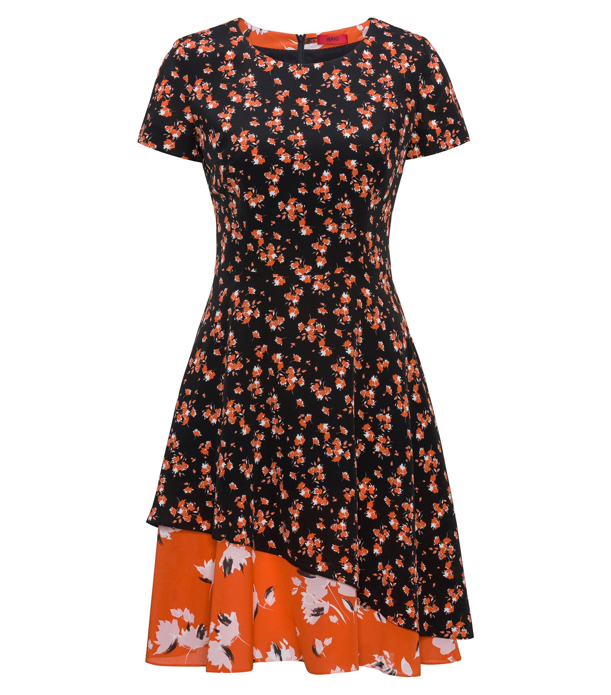 Short-sleeved silk dress with patched floral prints, Patterned