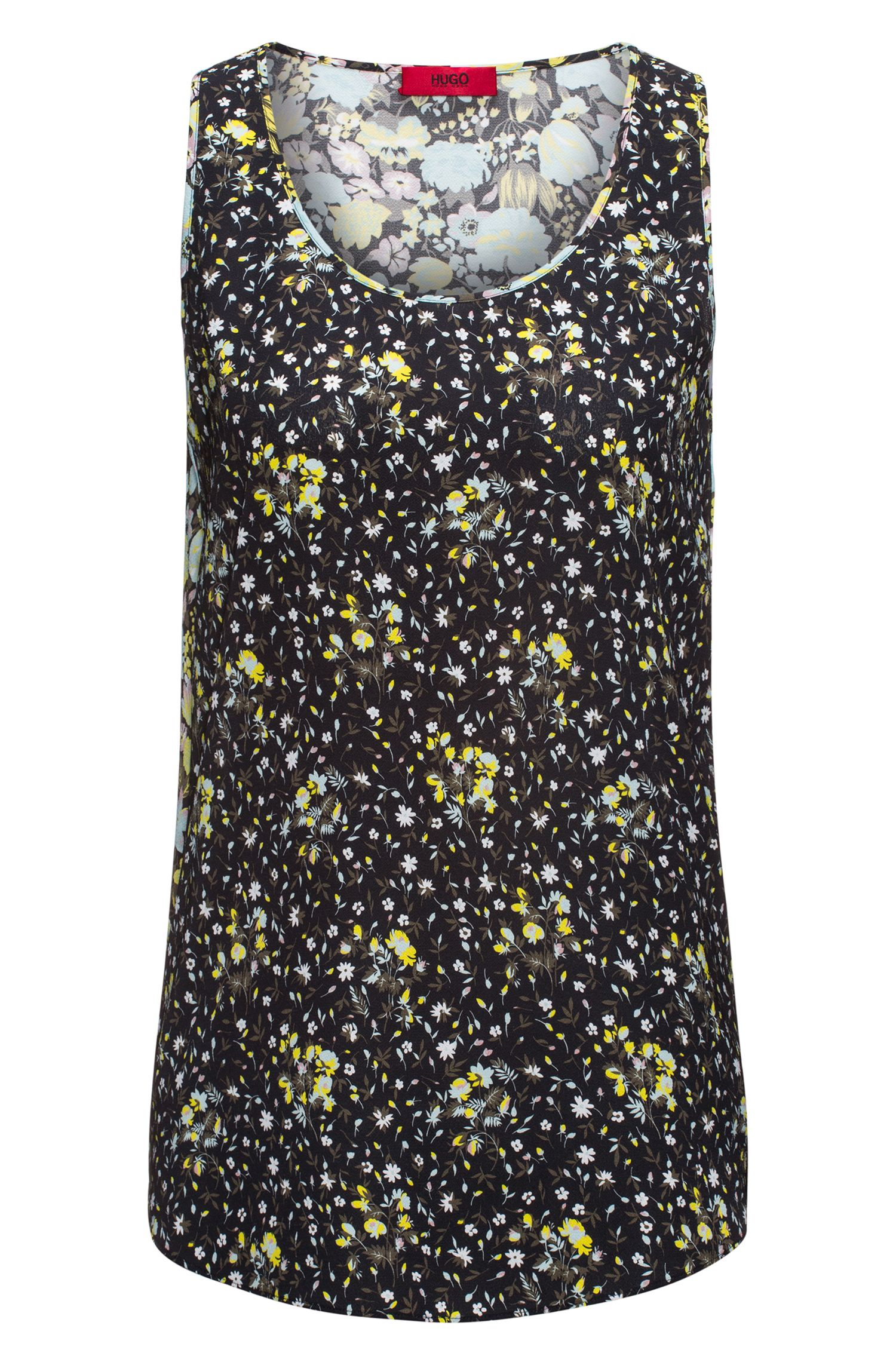 Patterned tank top in silky fabric