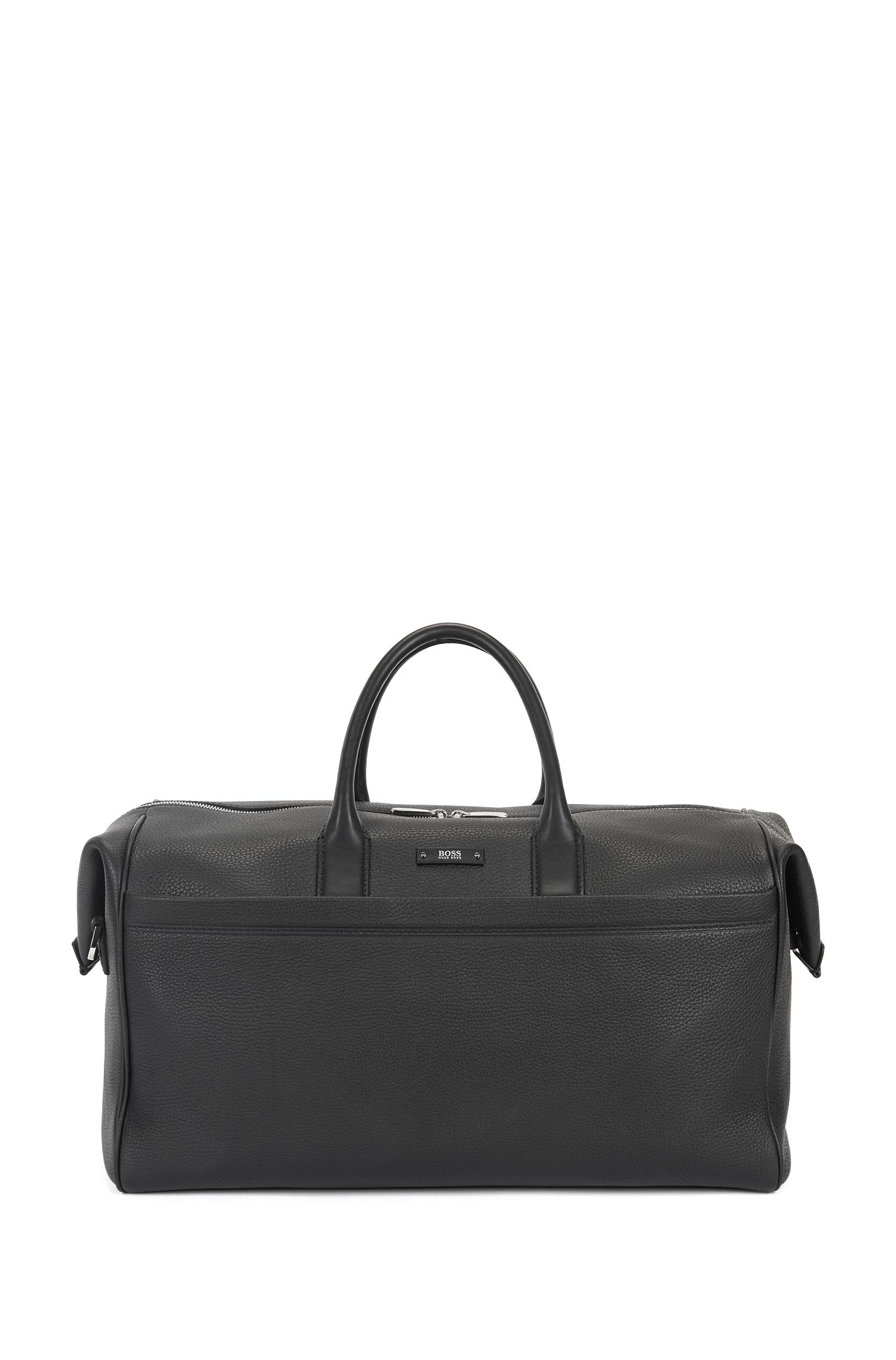 Travel holdall in grained Italian leather