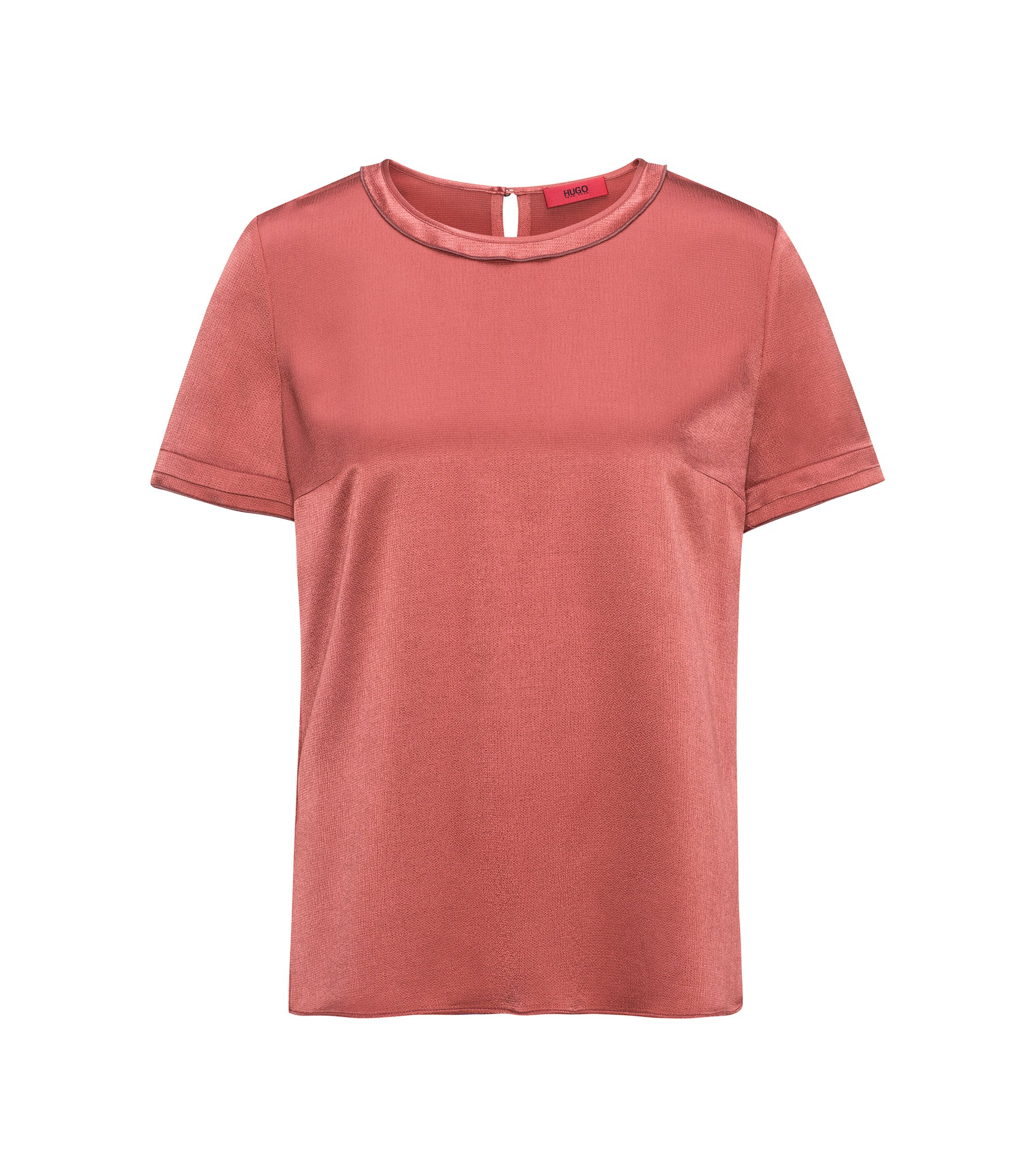 T-shirt regular fit in tessuto serico, Rosa