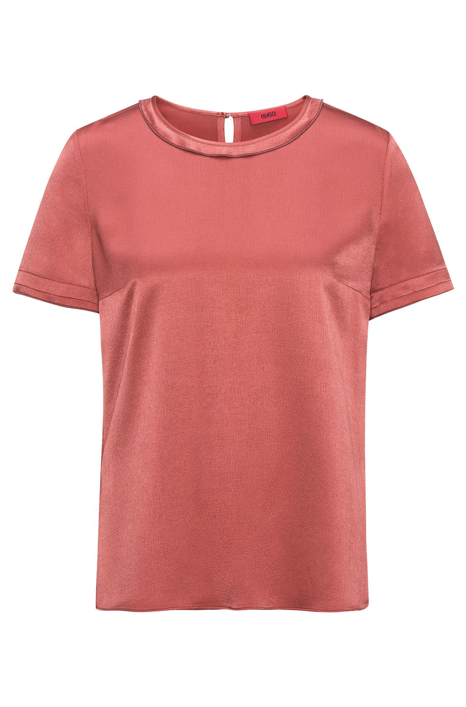 Regular-fit T-shirt top in silky fabric