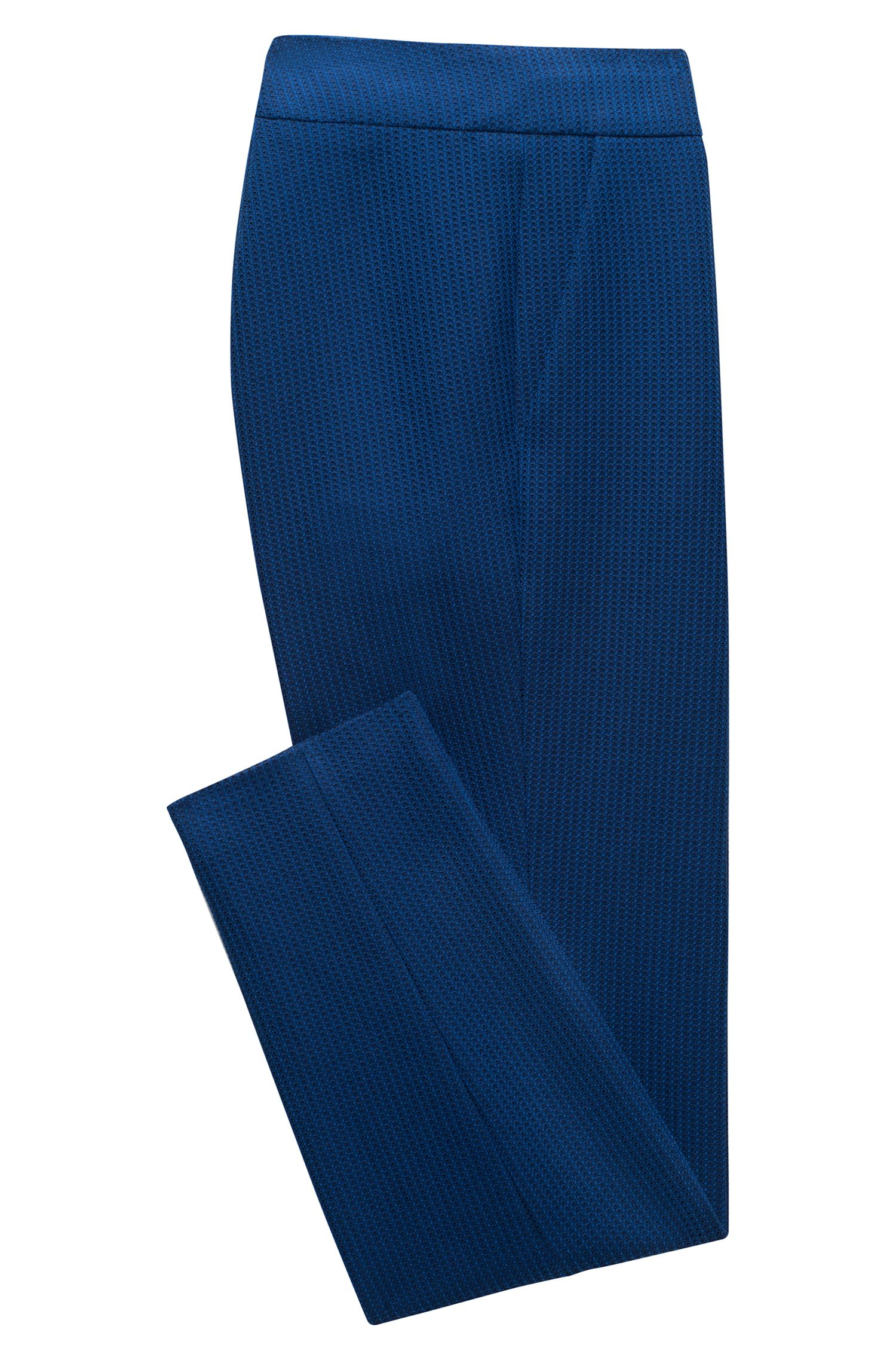 Slim-fit cropped trousers in yarn-dyed stretch fabric