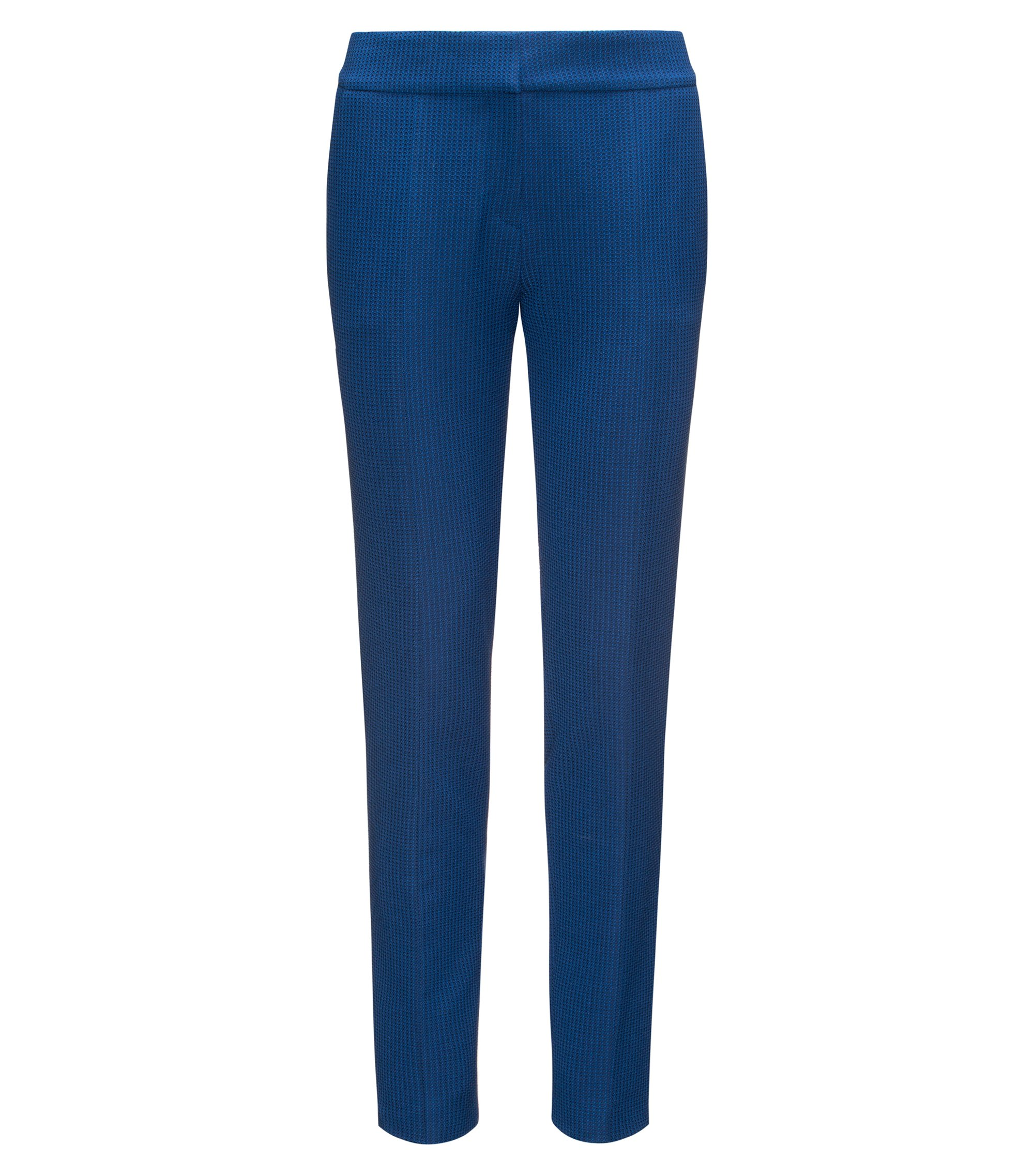Slim-fit cropped trousers in yarn-dyed stretch fabric , Blue