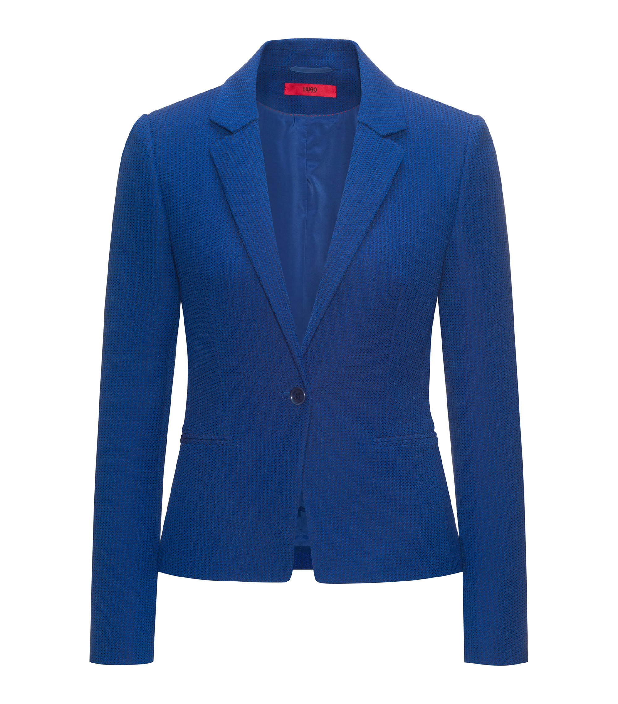 Slim-fit jacket in yarn-dyed stretch fabric, Dark Blue