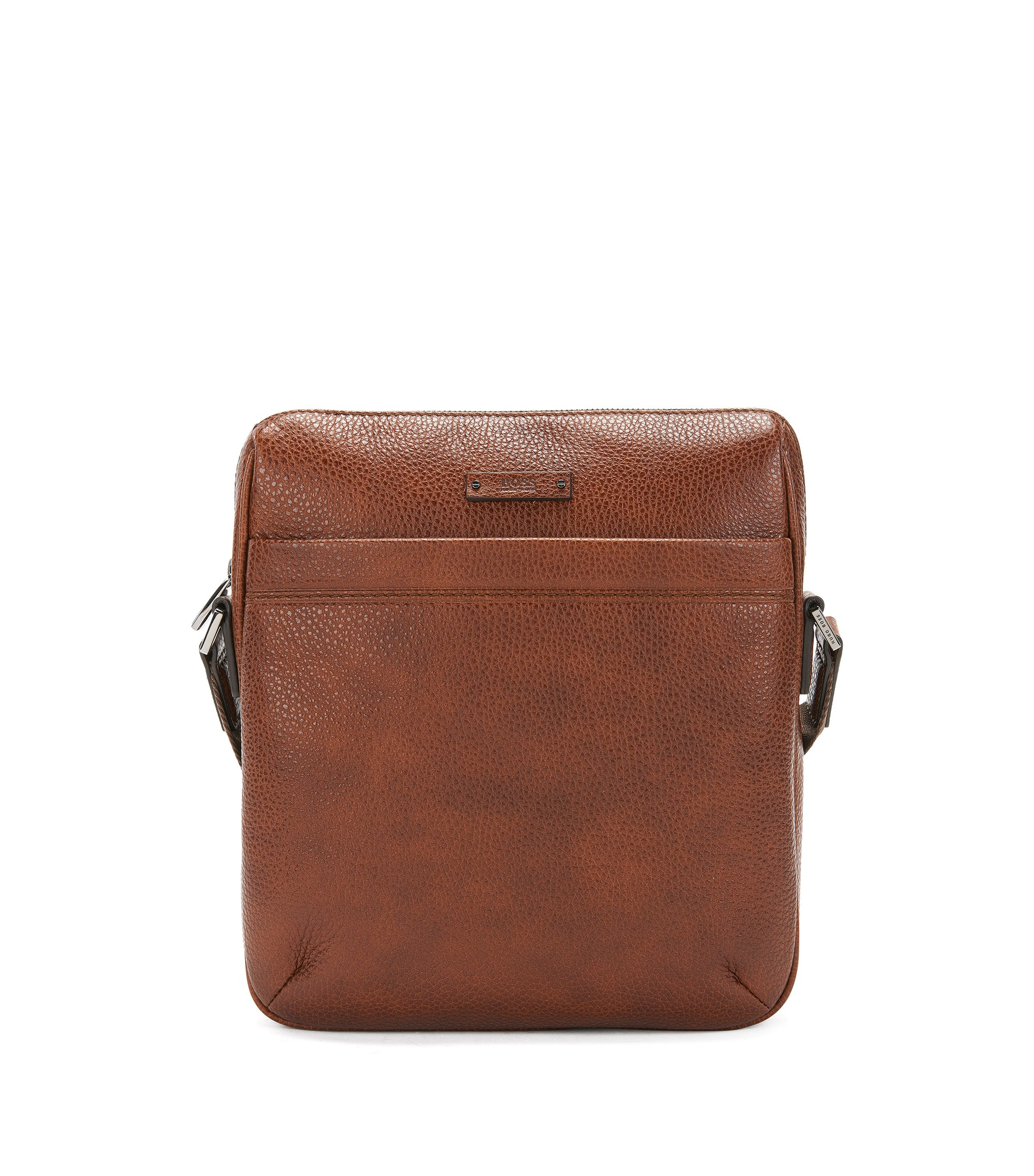 Crossbody reporter bag in embossed Italian leather, Brown