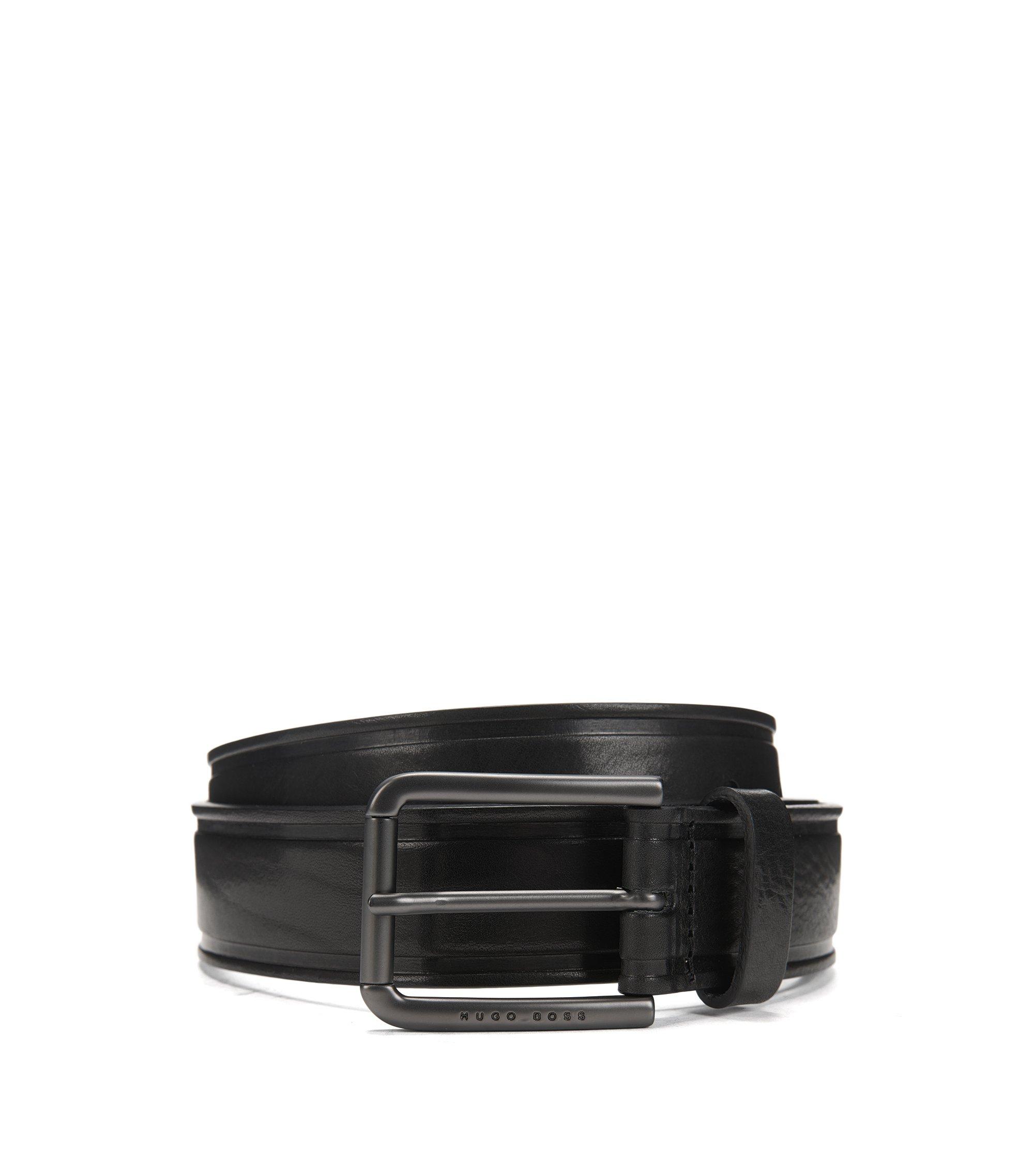 Gürtel aus Glattleder mit heißgeprägten Details, Schwarz
