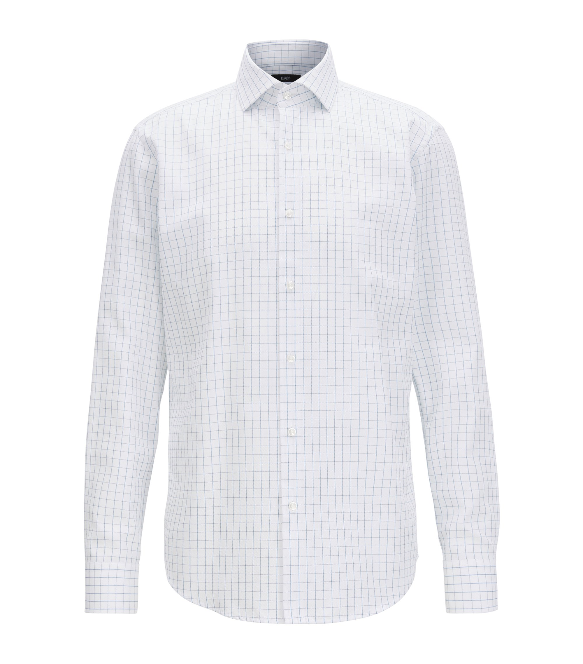 Checked cotton shirt in a regular fit, Light Blue
