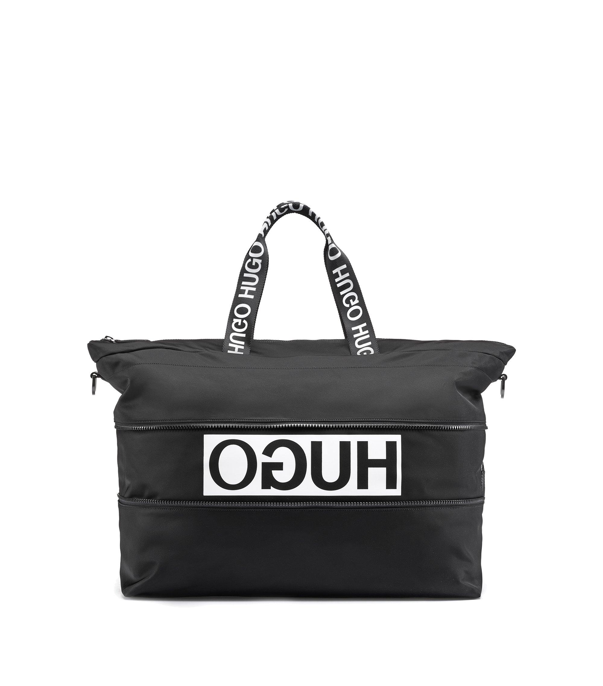 Vergrootbare weekendtas met gespiegeld logo van gabardine van technisch materiaal, Zwart