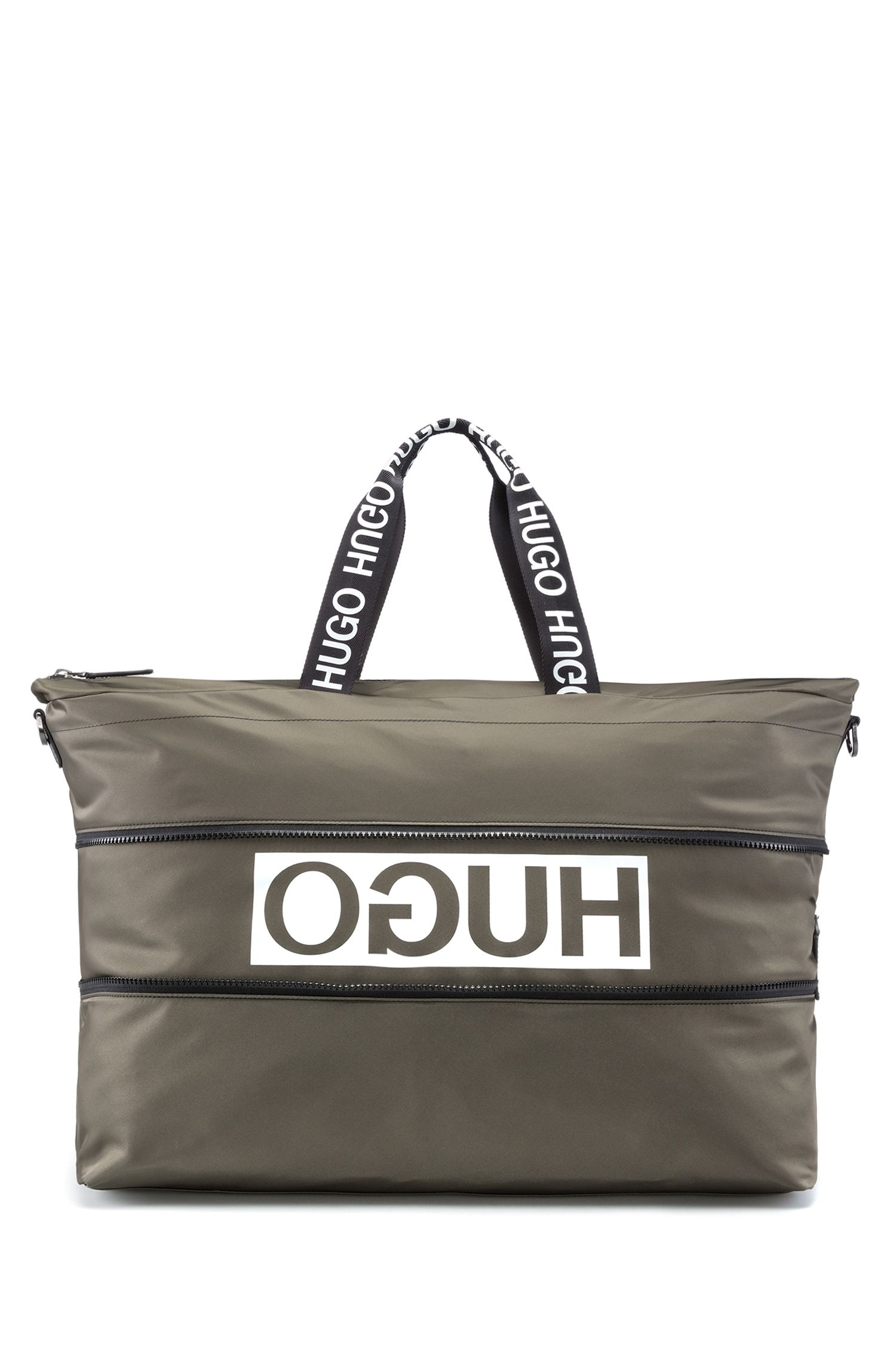 Amplio bolso weekender expandible en tejido de gabardina de nailon con logo invertido