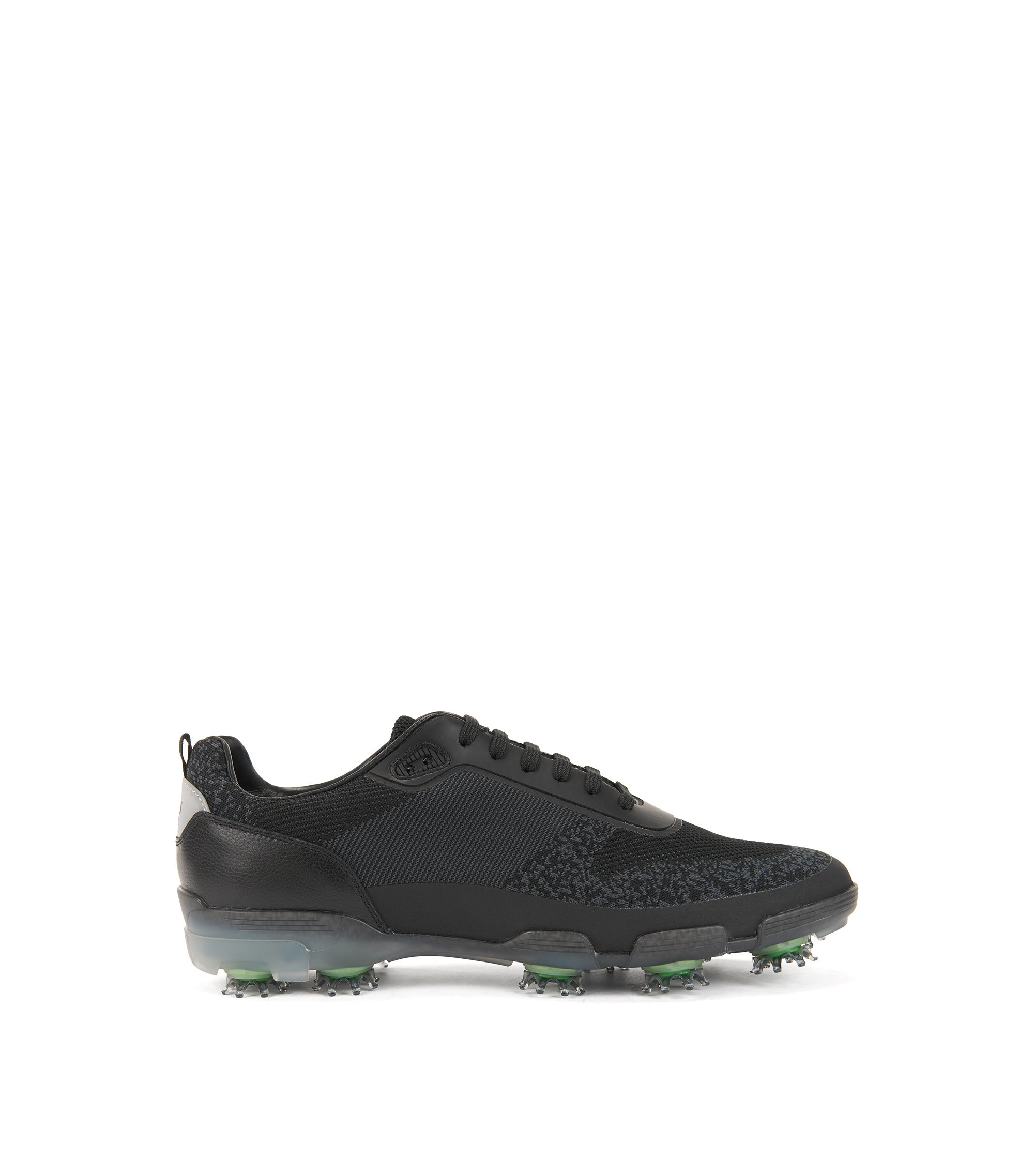 Lightweight golf shoes in water-resistant knitted jacquard, Black