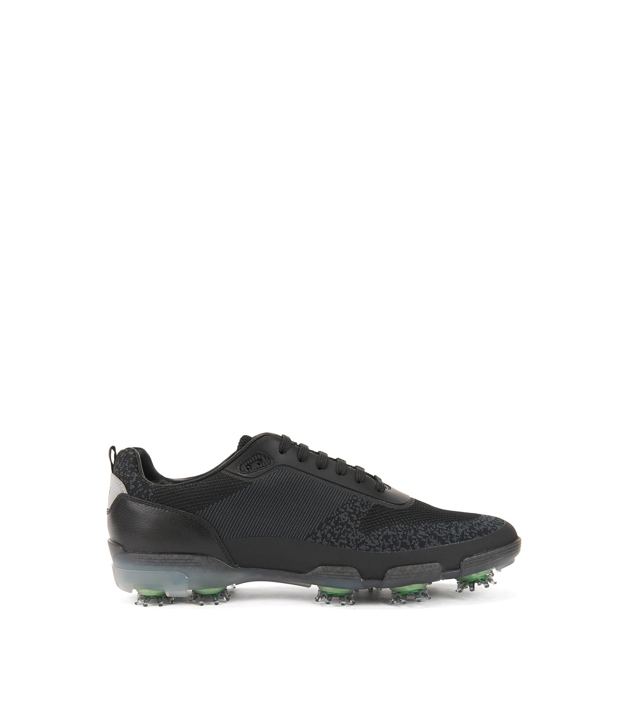 Leichte Golfschuhe aus wasserfestem Strick-Jacquard, Schwarz