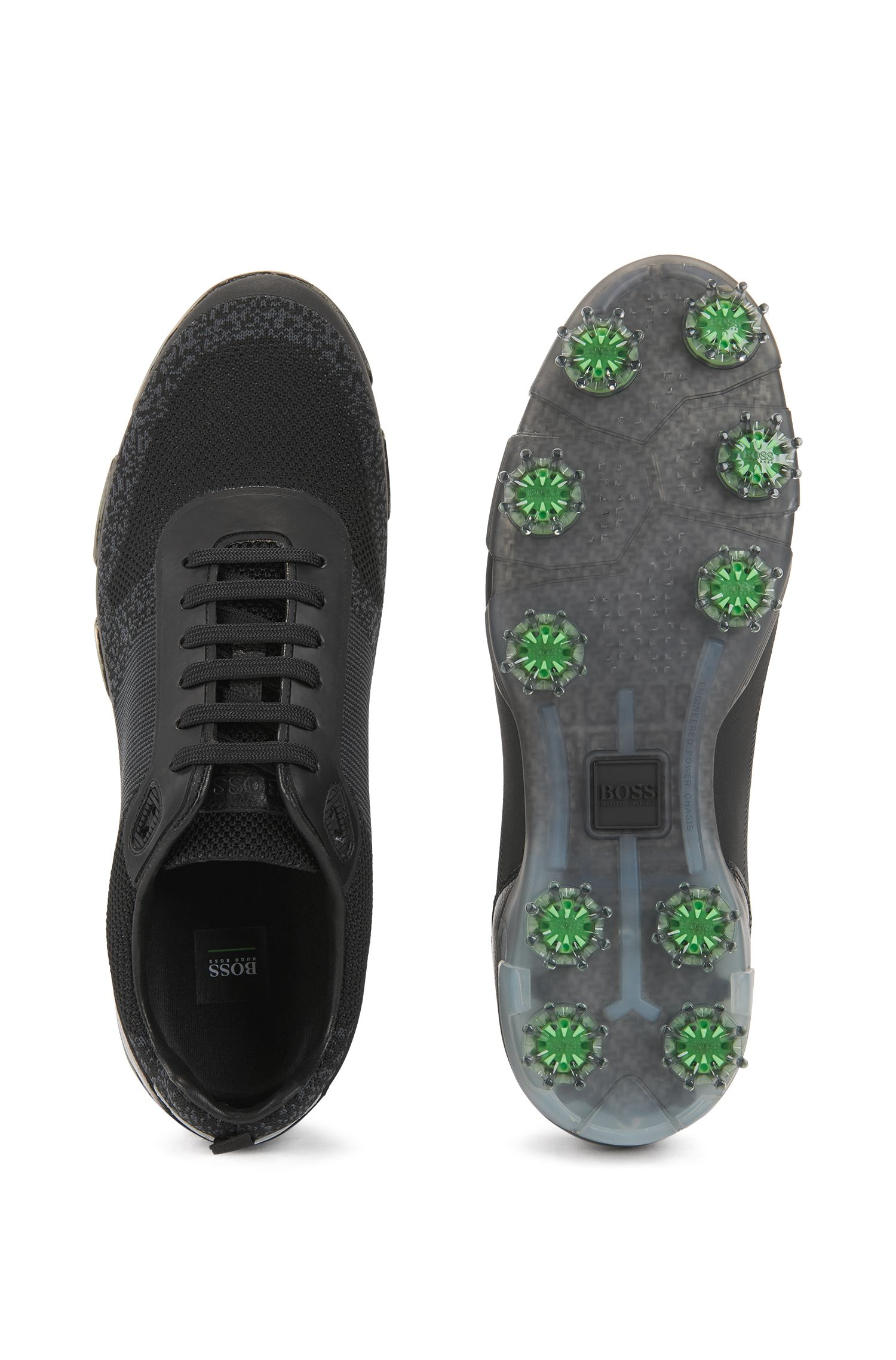 Lightweight golf shoes in water-resistant knitted jacquard