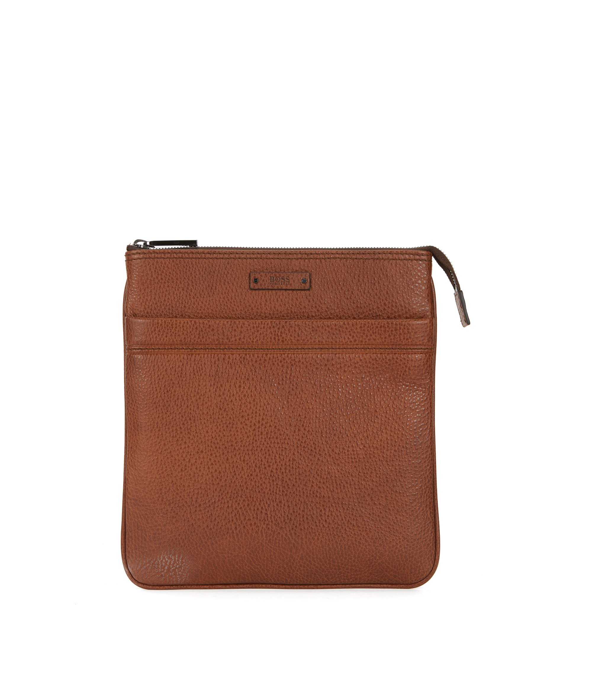 Cross-body envelope bag in grainy Italian leather, Brown