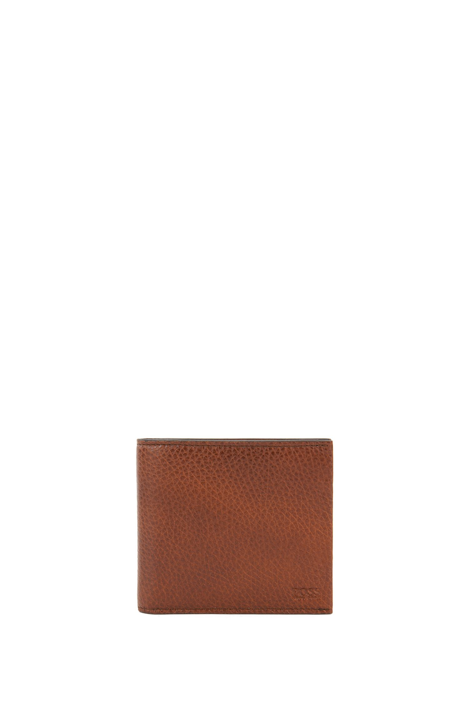 Billfold wallet with eight card slots in grained Italian leather, Brown