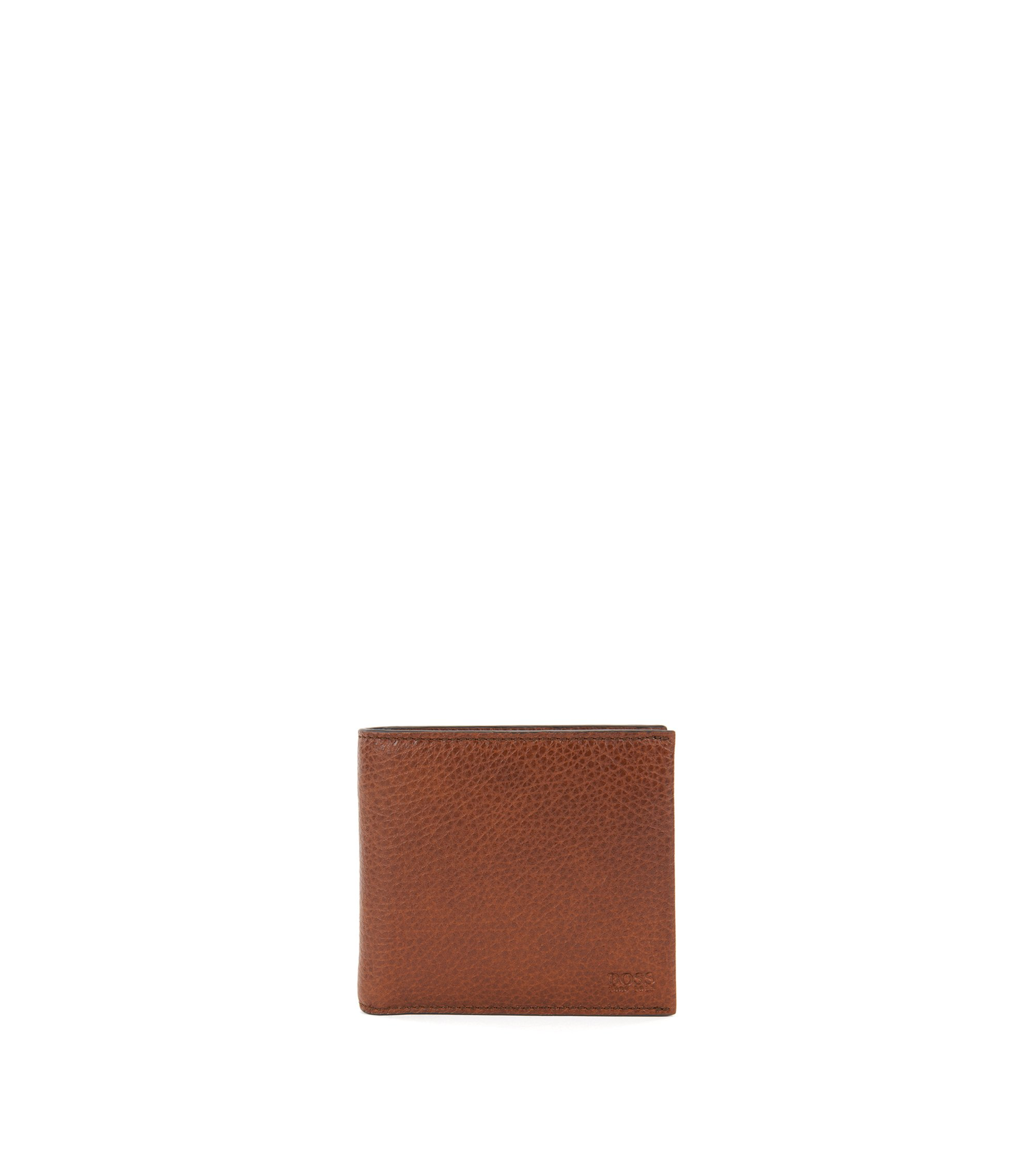 Grained Italian-leather billfold wallet with coin pocket, Brown