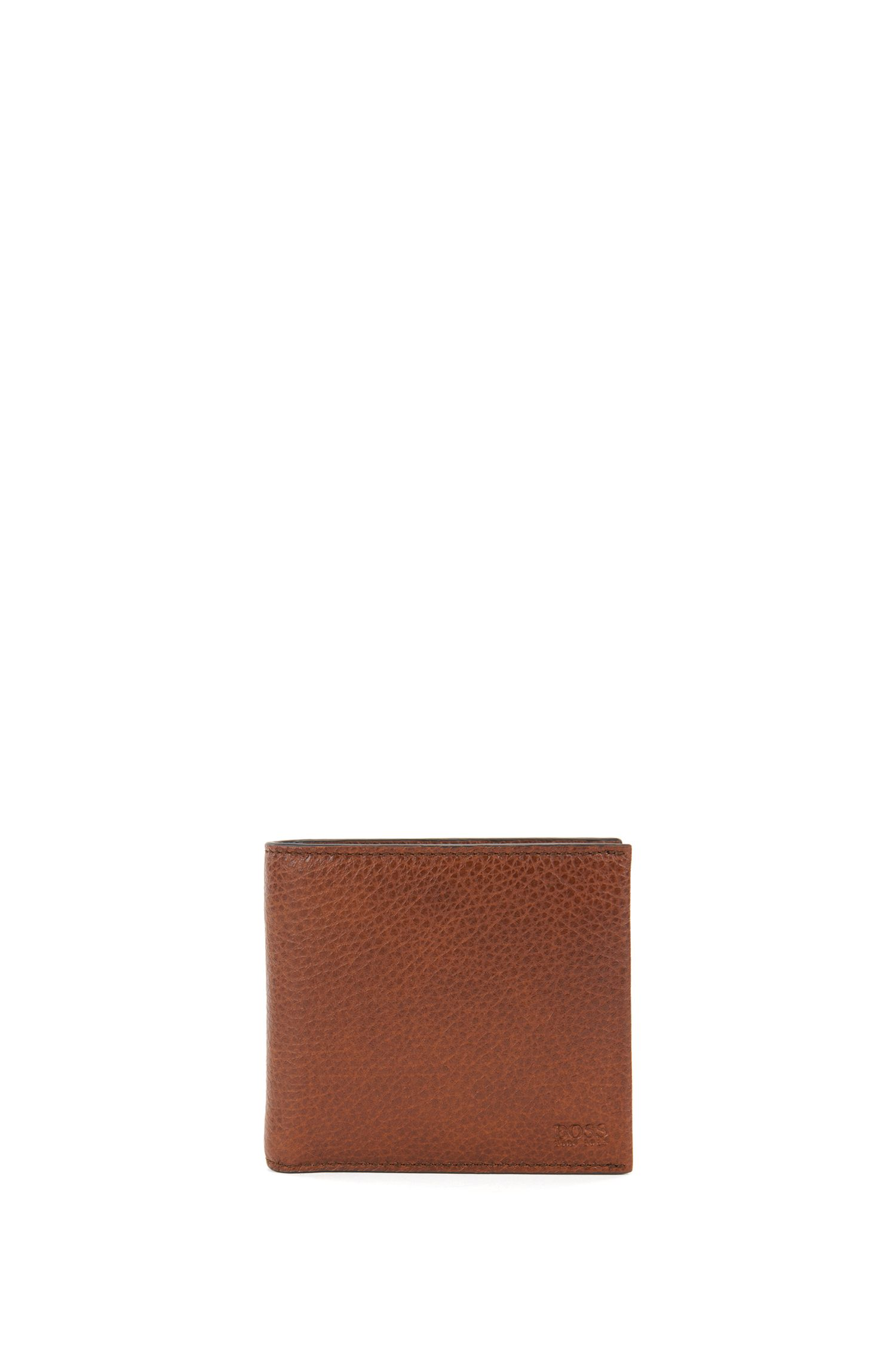 Grained Italian-leather billfold wallet with coin pocket