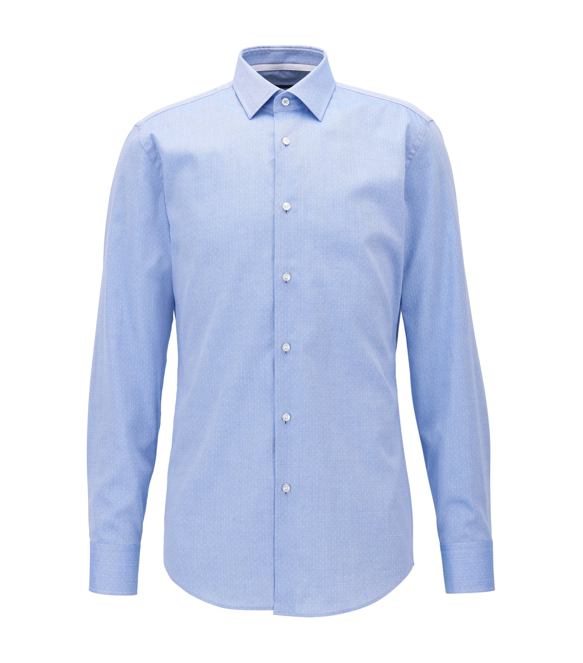 Slim-fit shirt in Italian-made dobby cotton, Blue