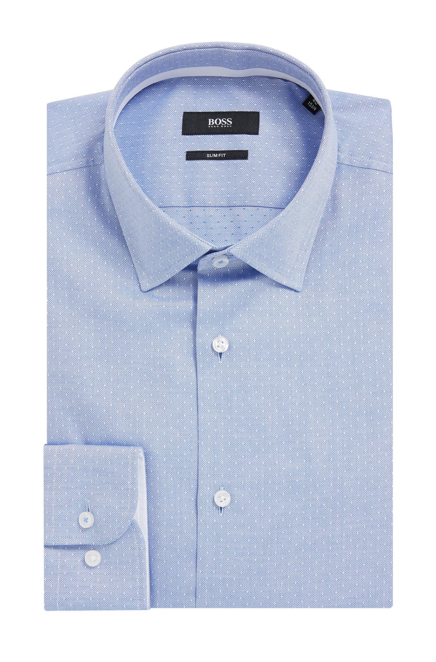 Camicia slim fit in cotone dobby realizzato in Italia