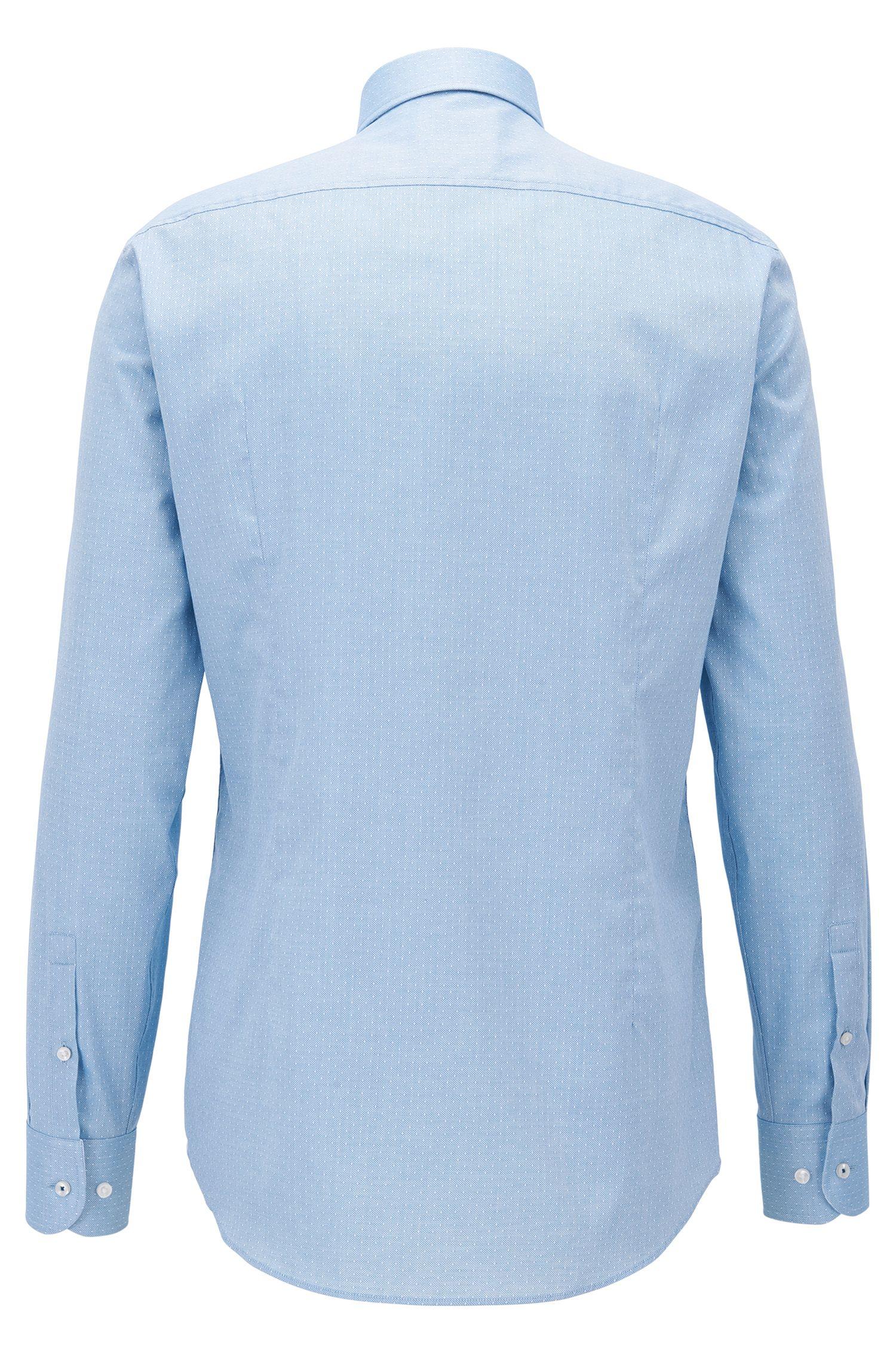 Slim-Fit Hemd aus italienischer Baumwolle mit Struktur