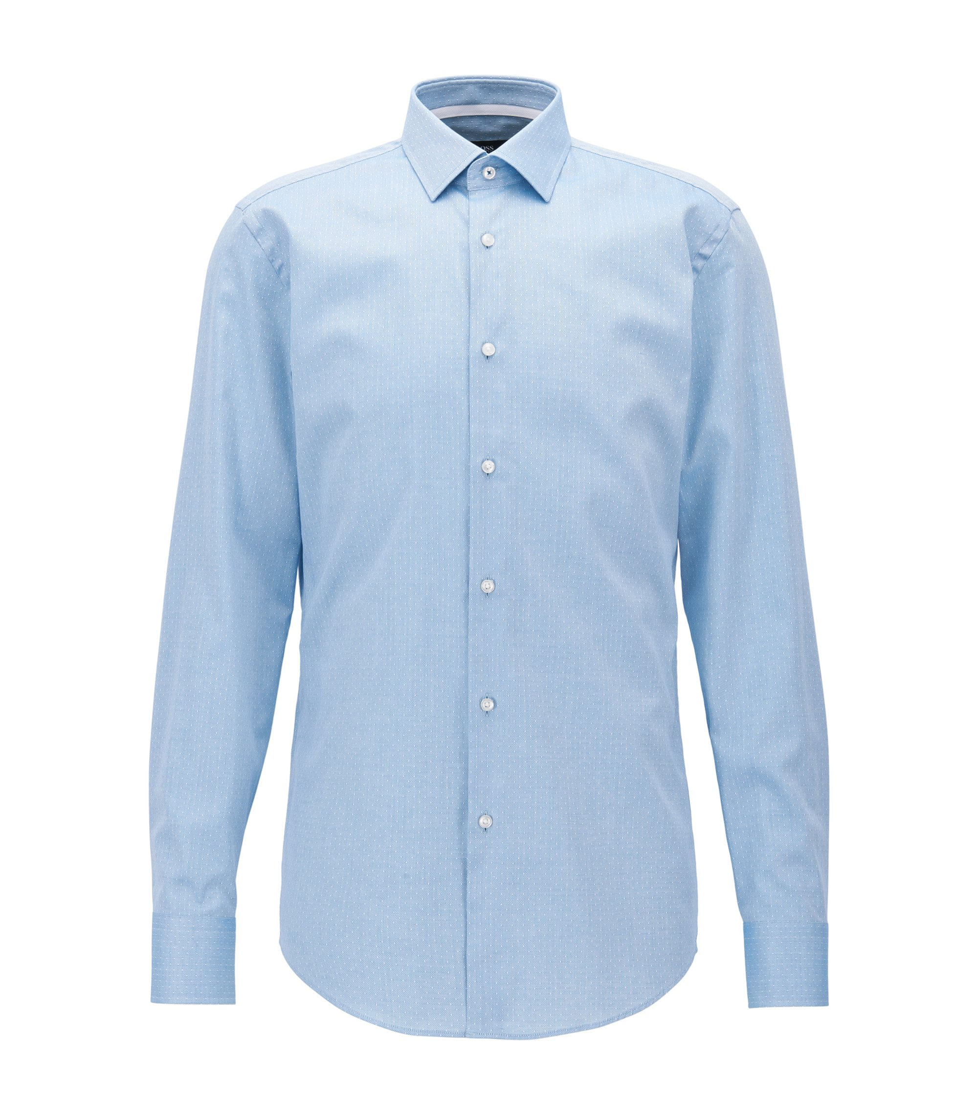 Regular-fit shirt in Italian-made dobby cotton, Turquoise