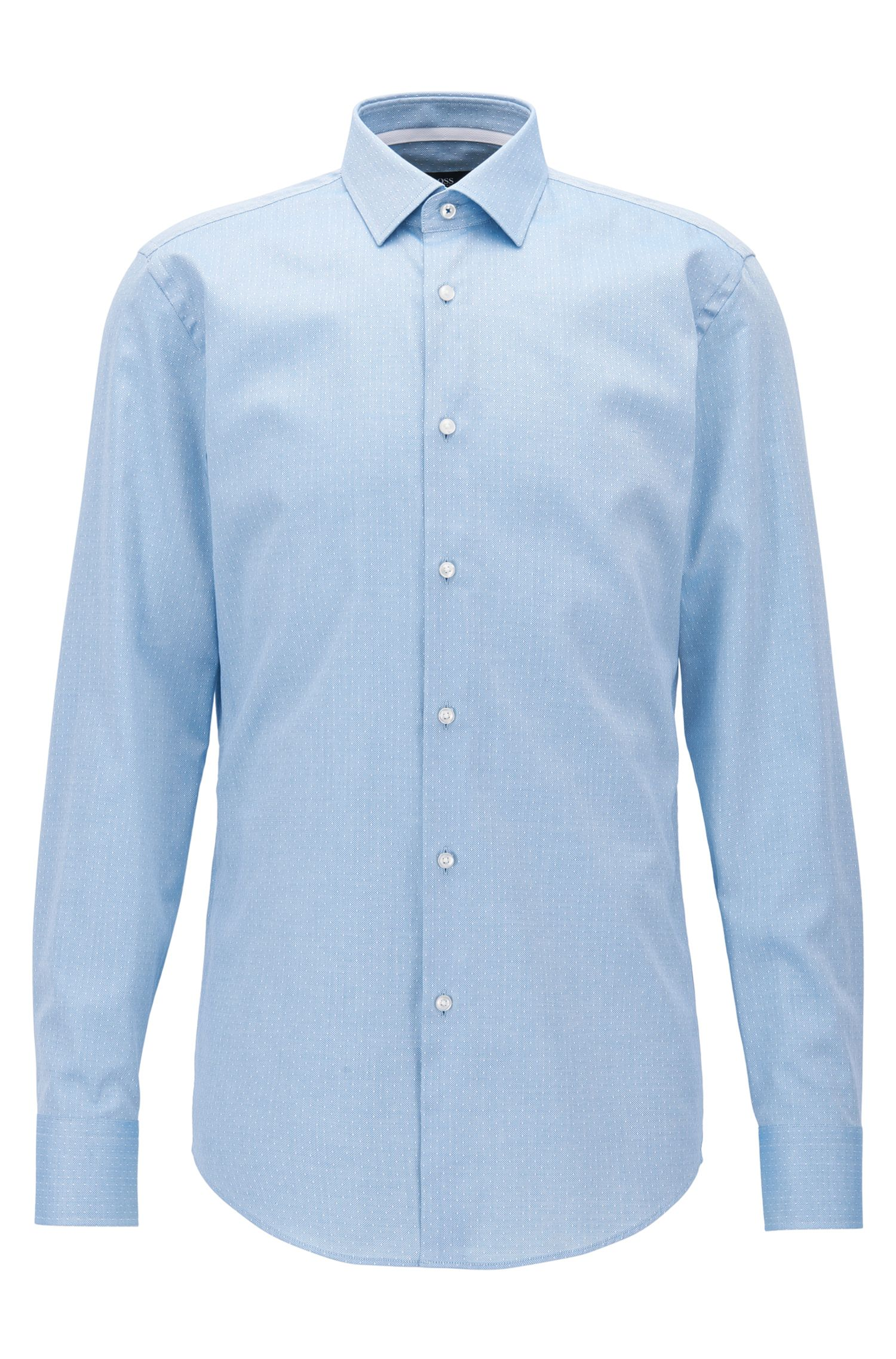 Regular-fit shirt in Italian-made dobby cotton