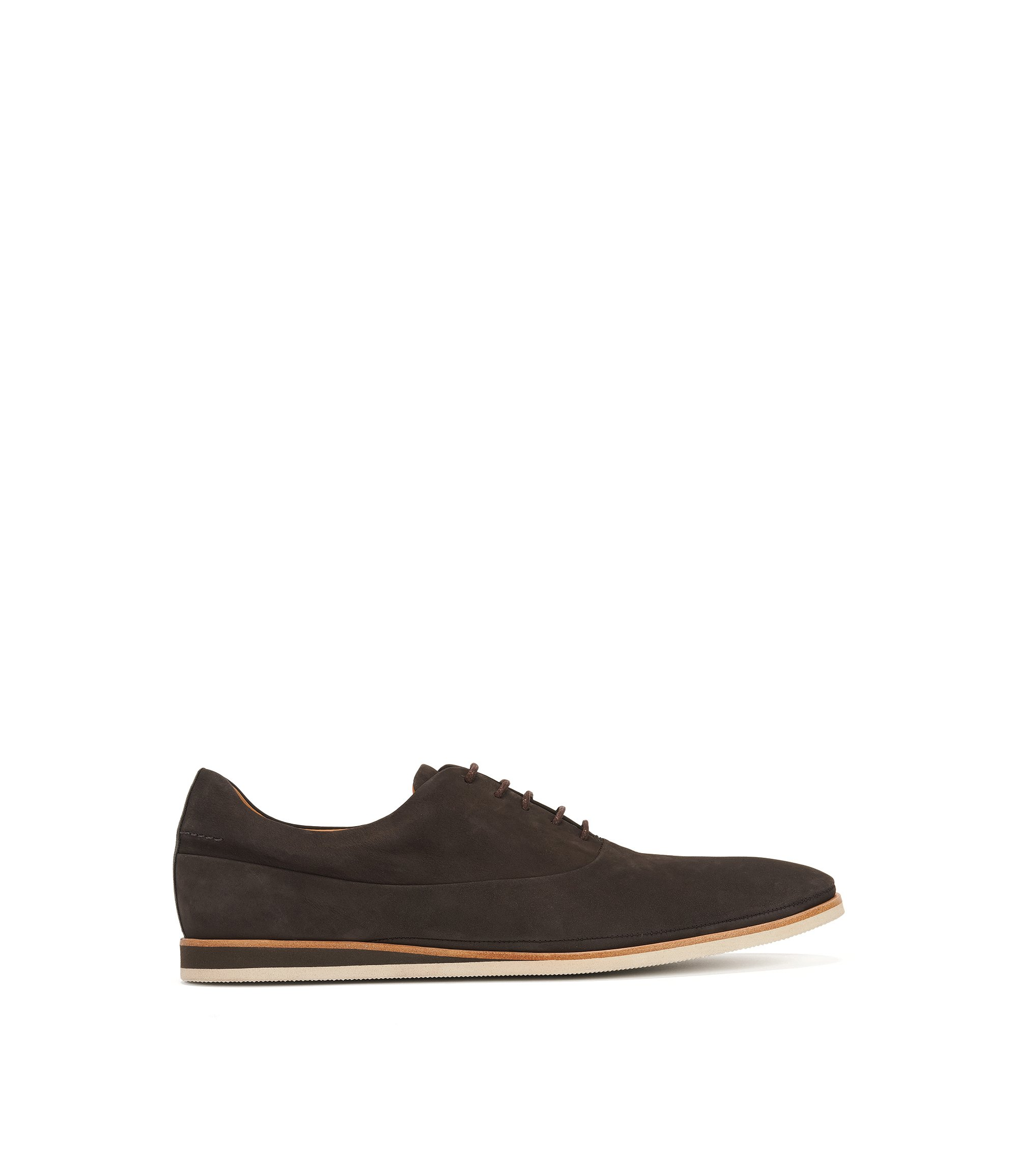 Casual Oxford shoes in soft nubuck, Marron foncé
