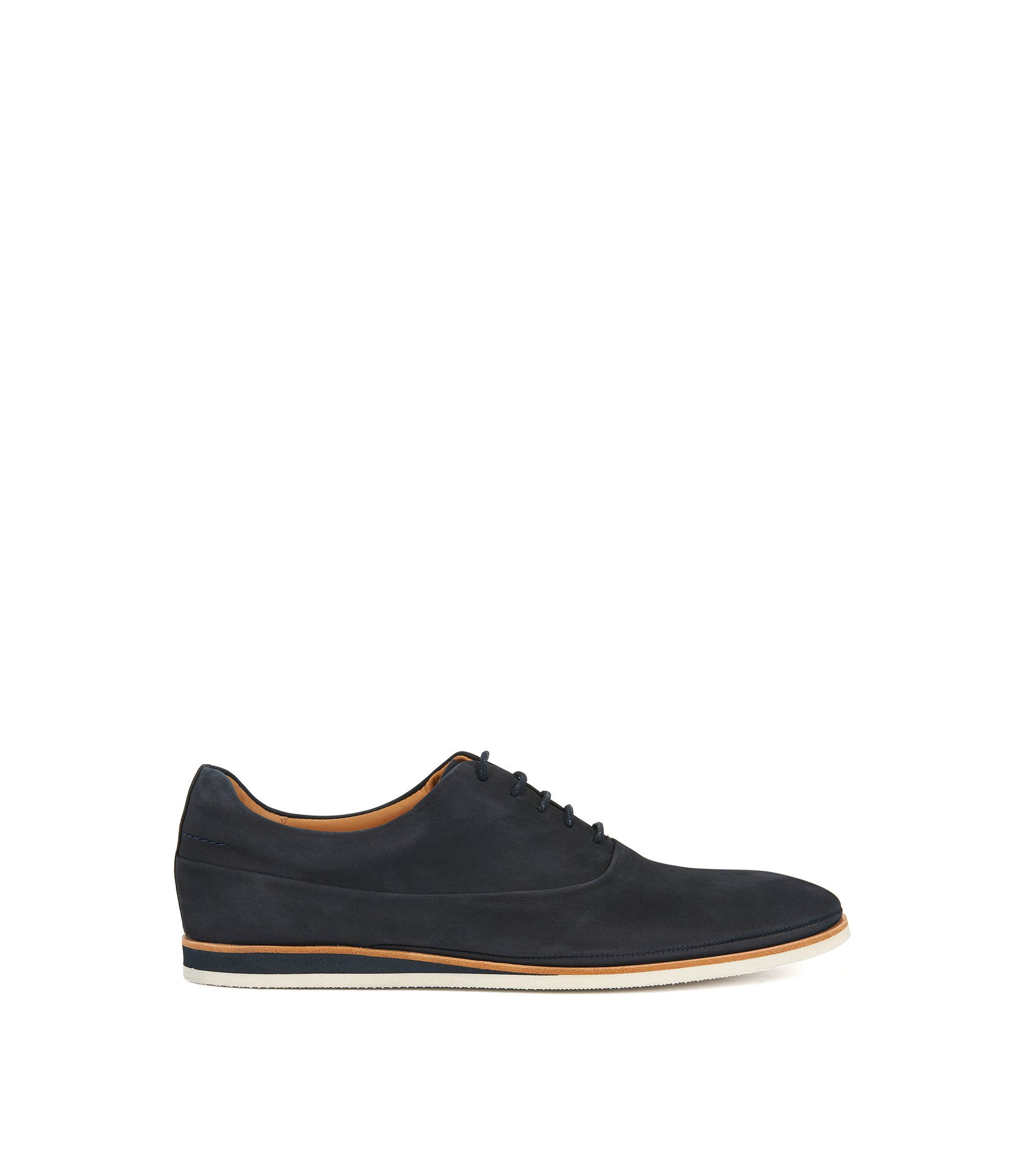 Casual Oxford shoes in soft nubuck, Blu scuro