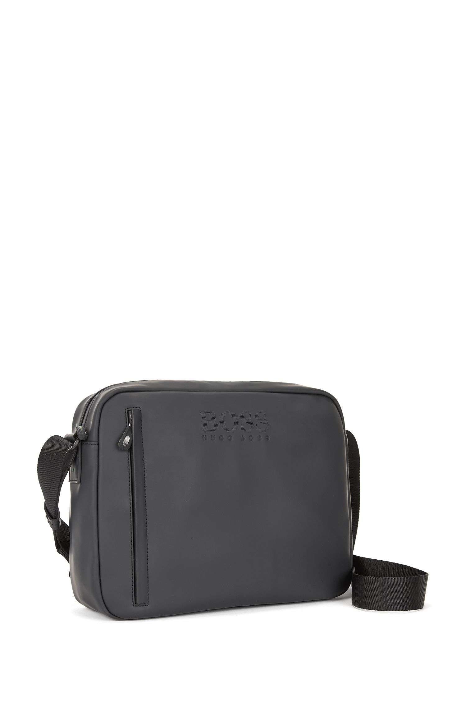 Messenger bag in rubberised fabric