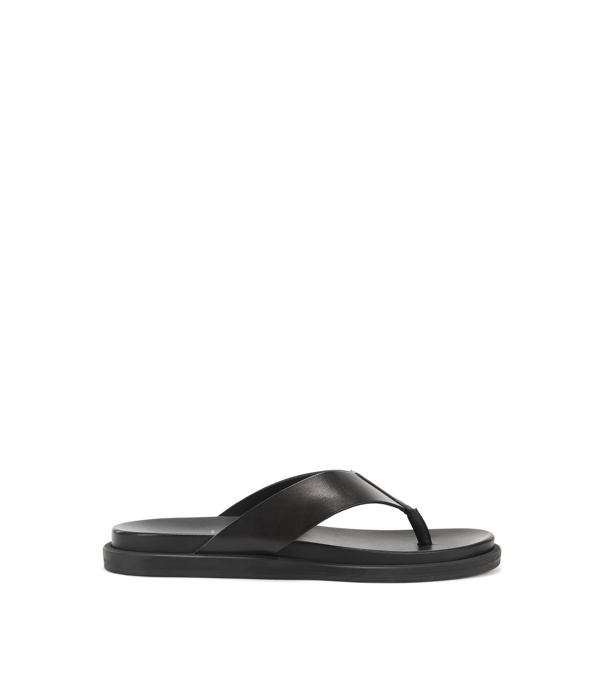 Italian-made calf-leather thong sandals , Black