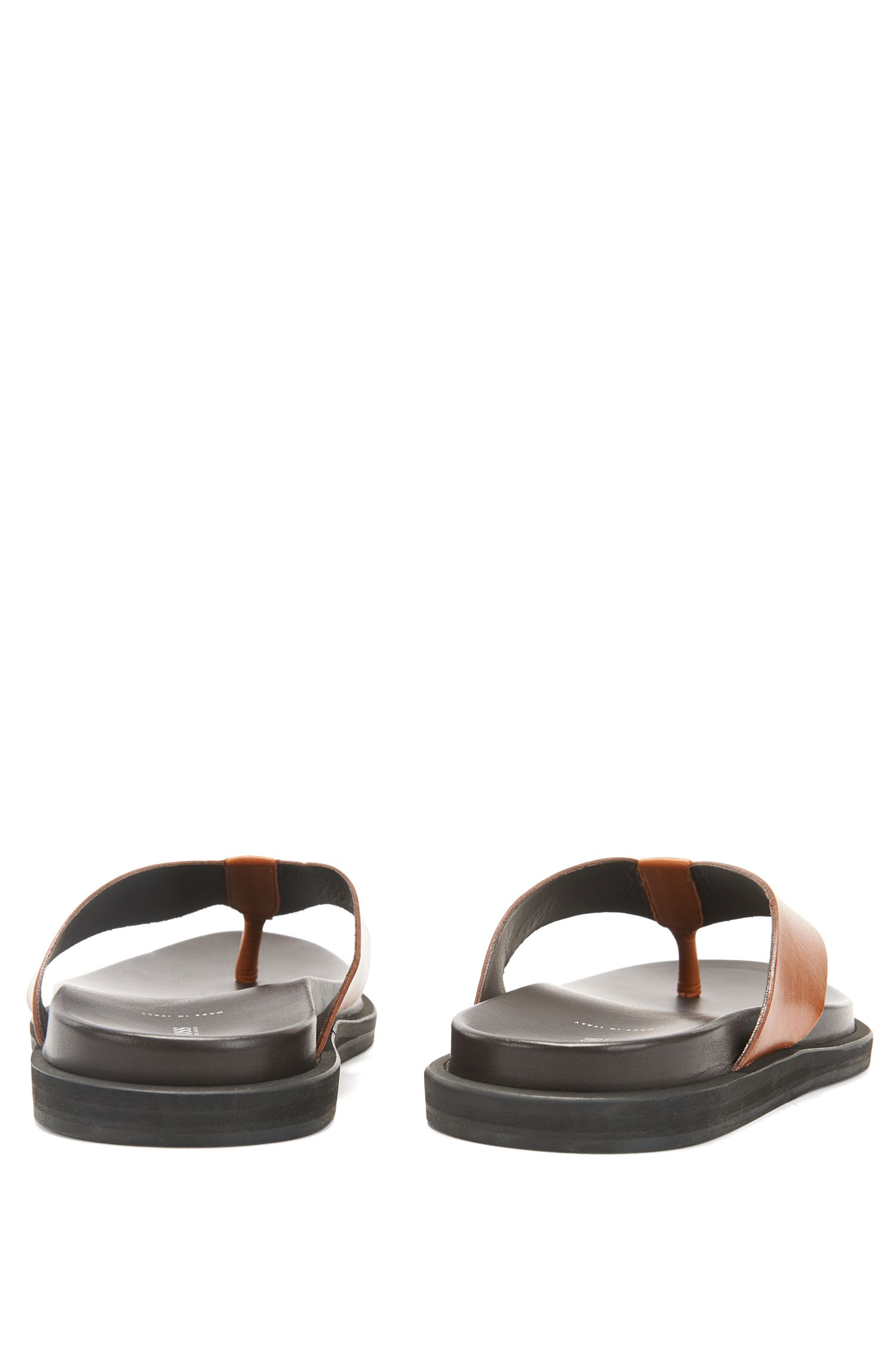 Italian-made calf-leather thong sandals