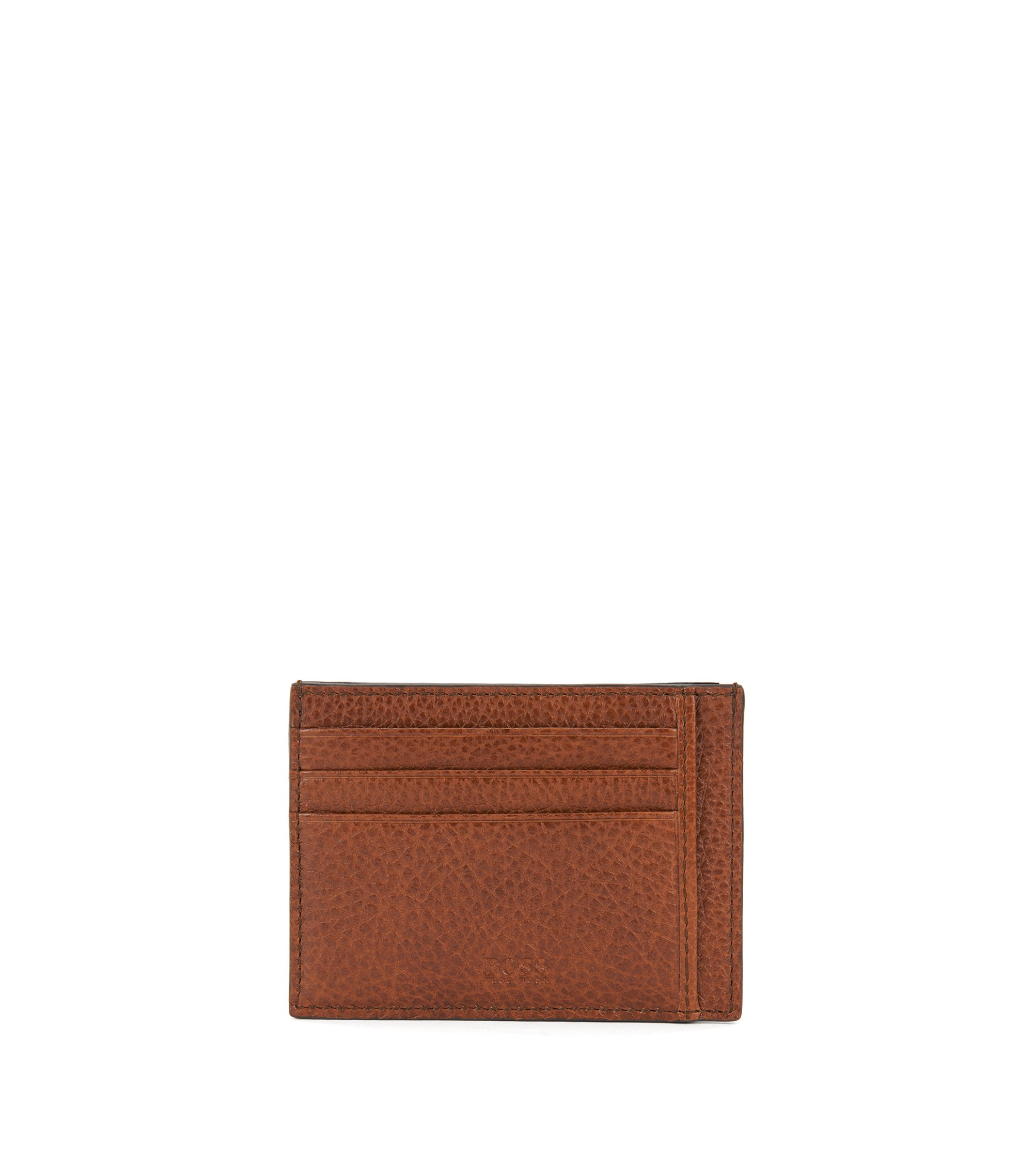 Card holder in grained Italian leather, Brown