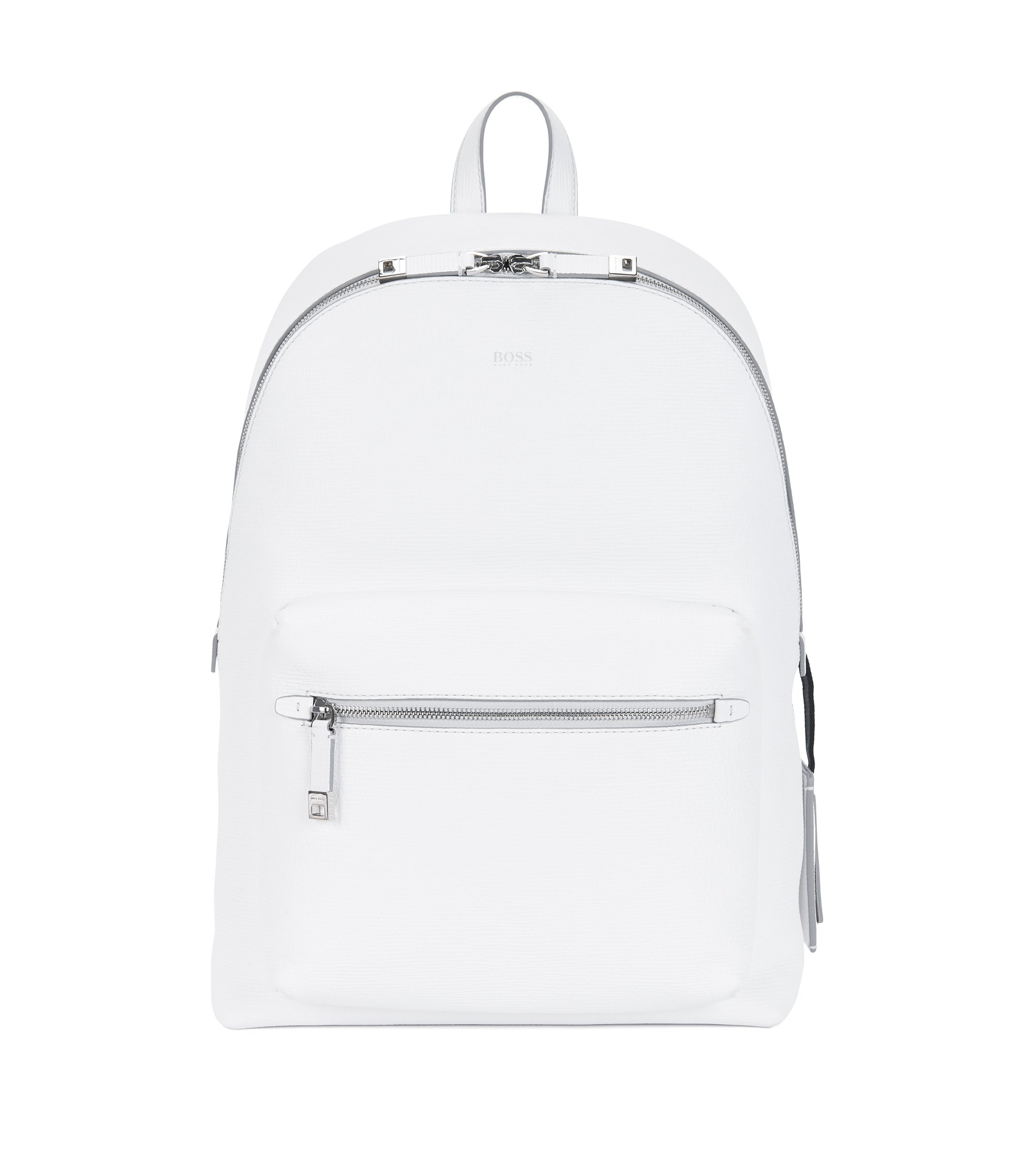 Backpack in printed Italian calfskin leather, White