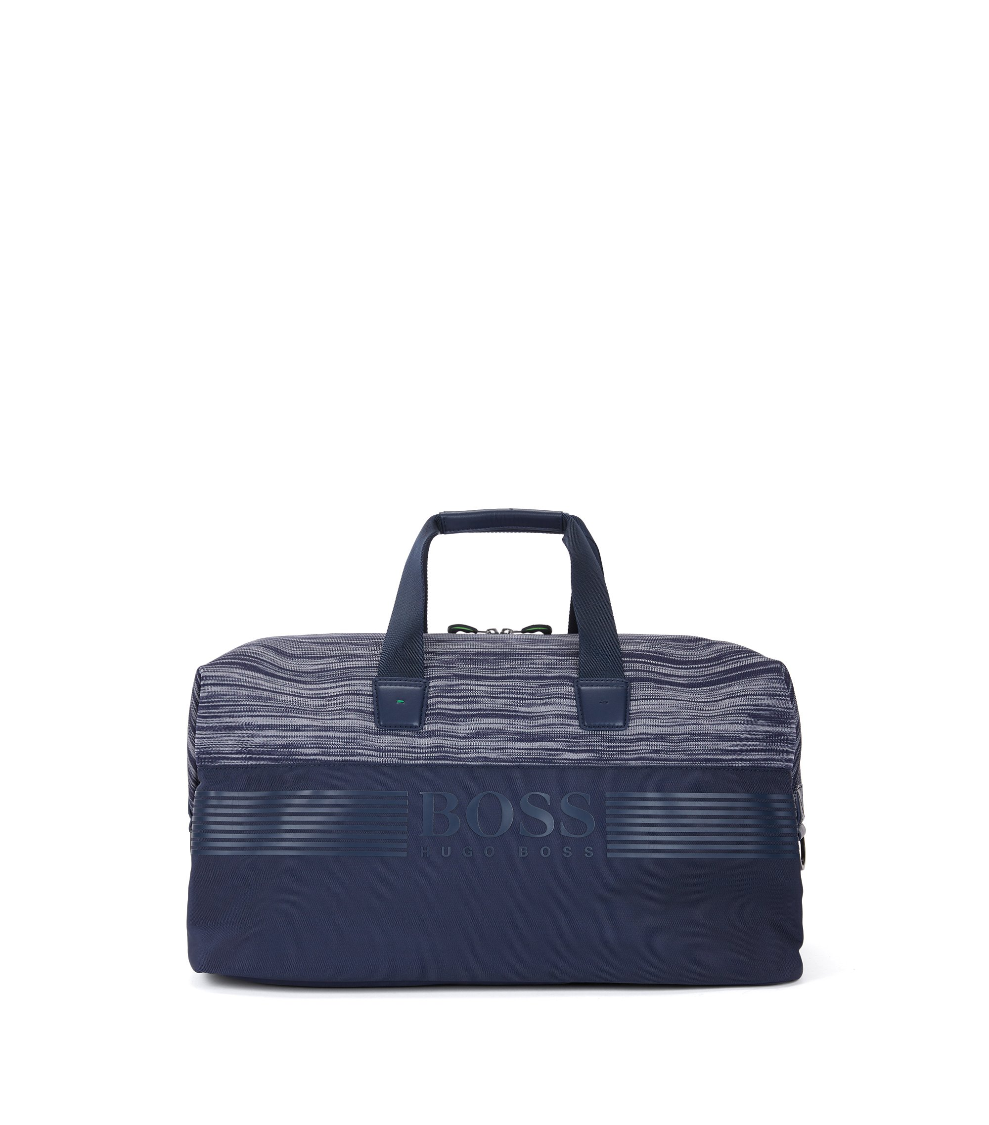 Nylon holdall with knitted melange panel, Dark Blue